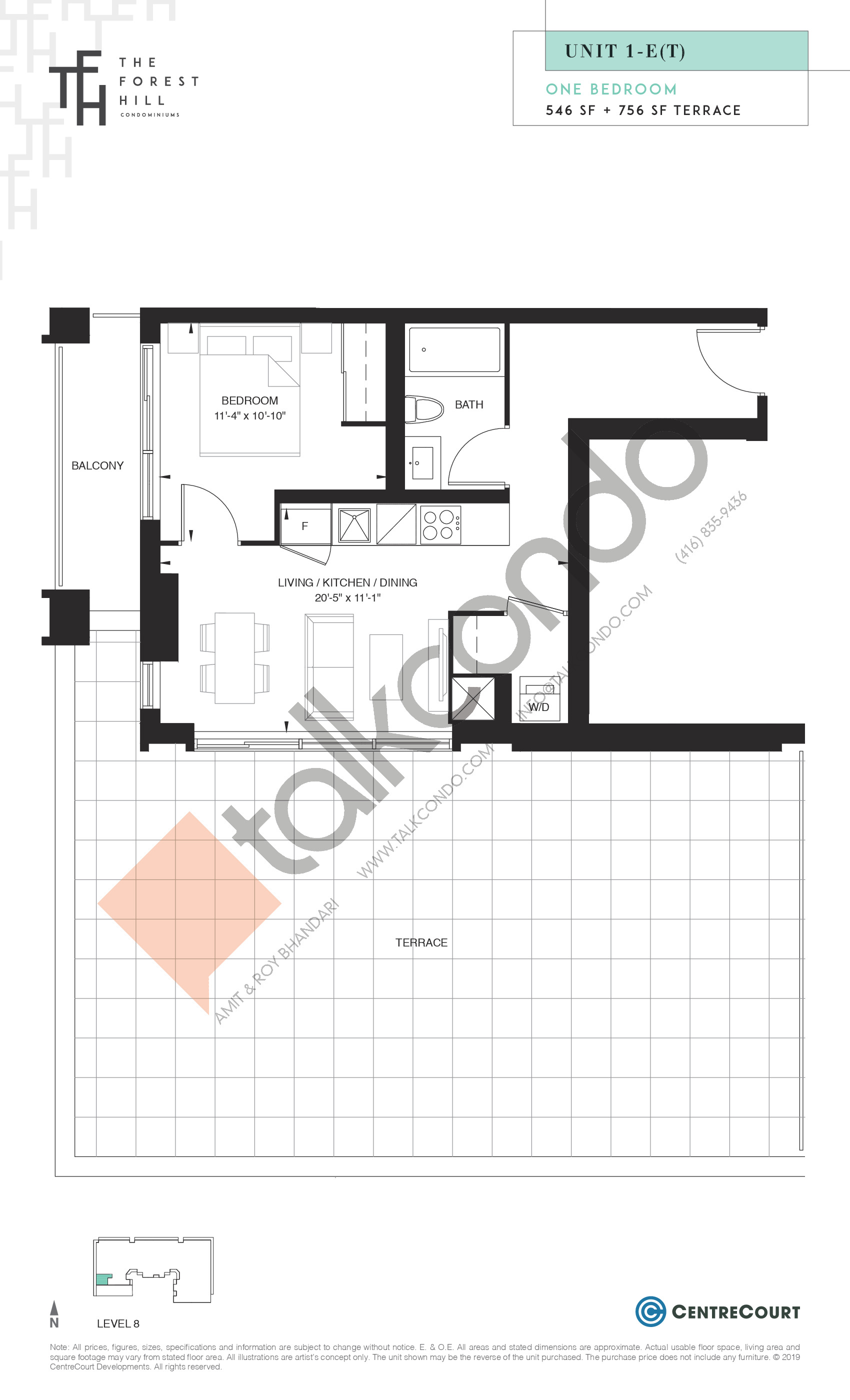 Unit 1-E(T) Floor Plan at The Forest Hill Condos - 546 sq.ft