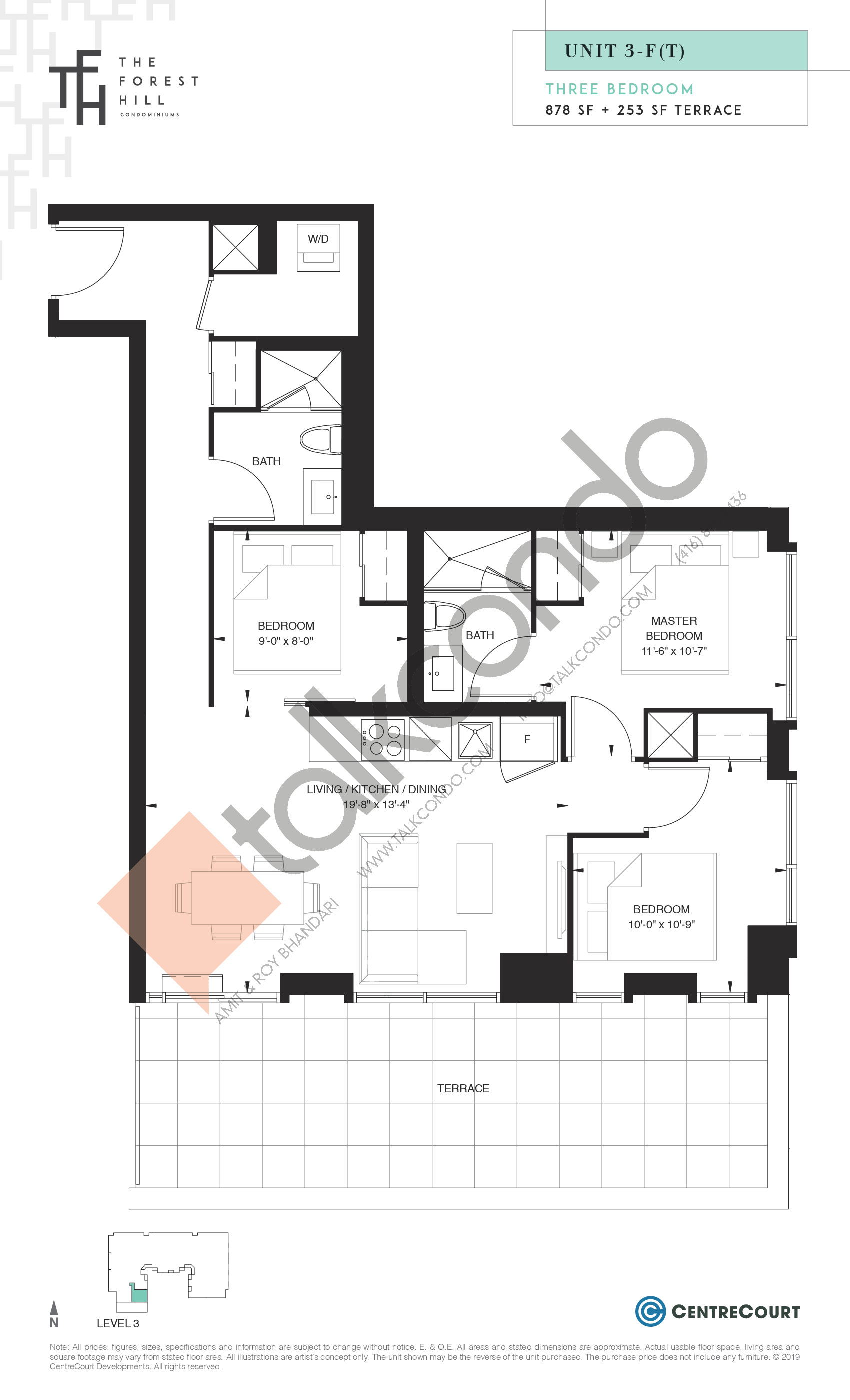 Unit 3-F(T) Floor Plan at The Forest Hill Condos - 878 sq.ft