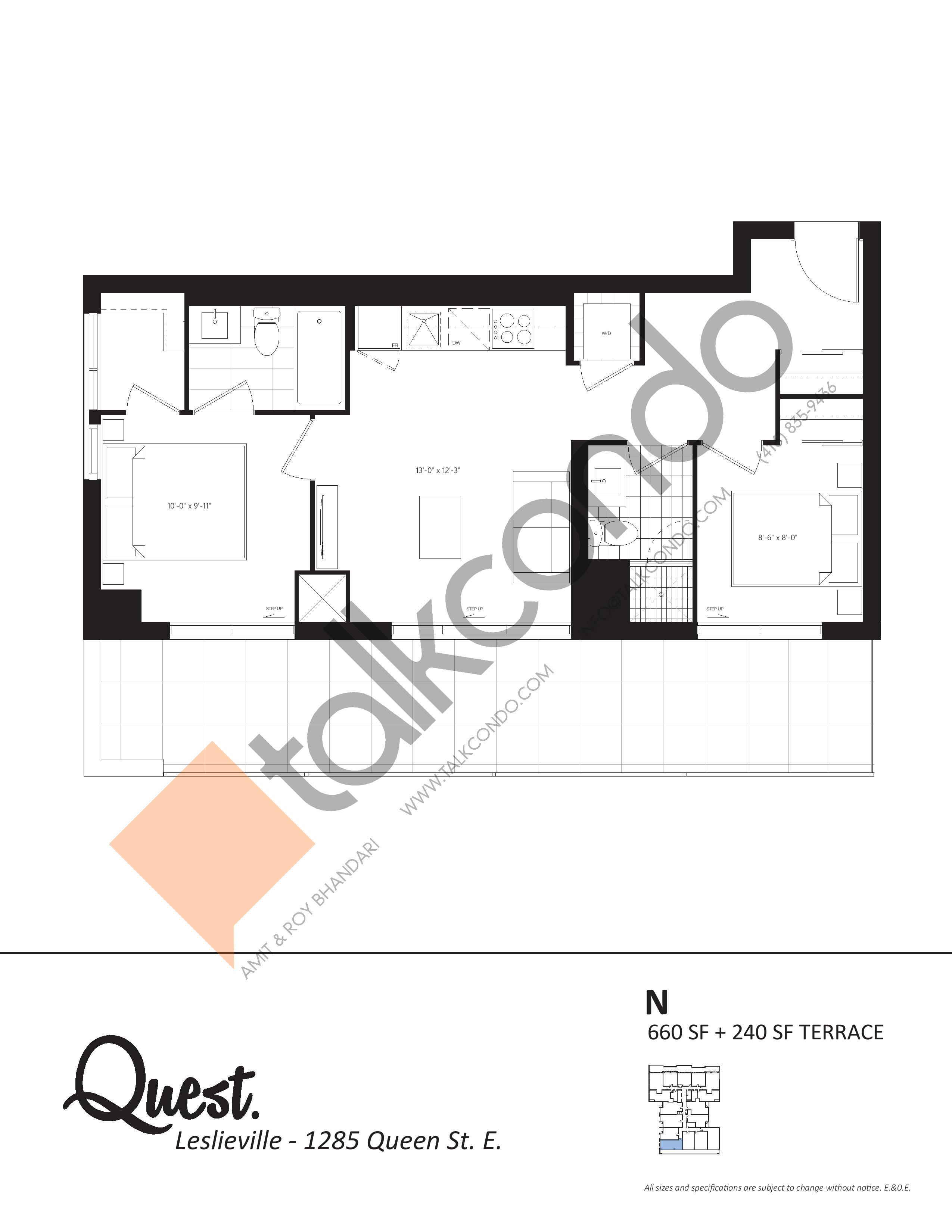 N Floor Plan at The Poet Condos - 660 sq.ft