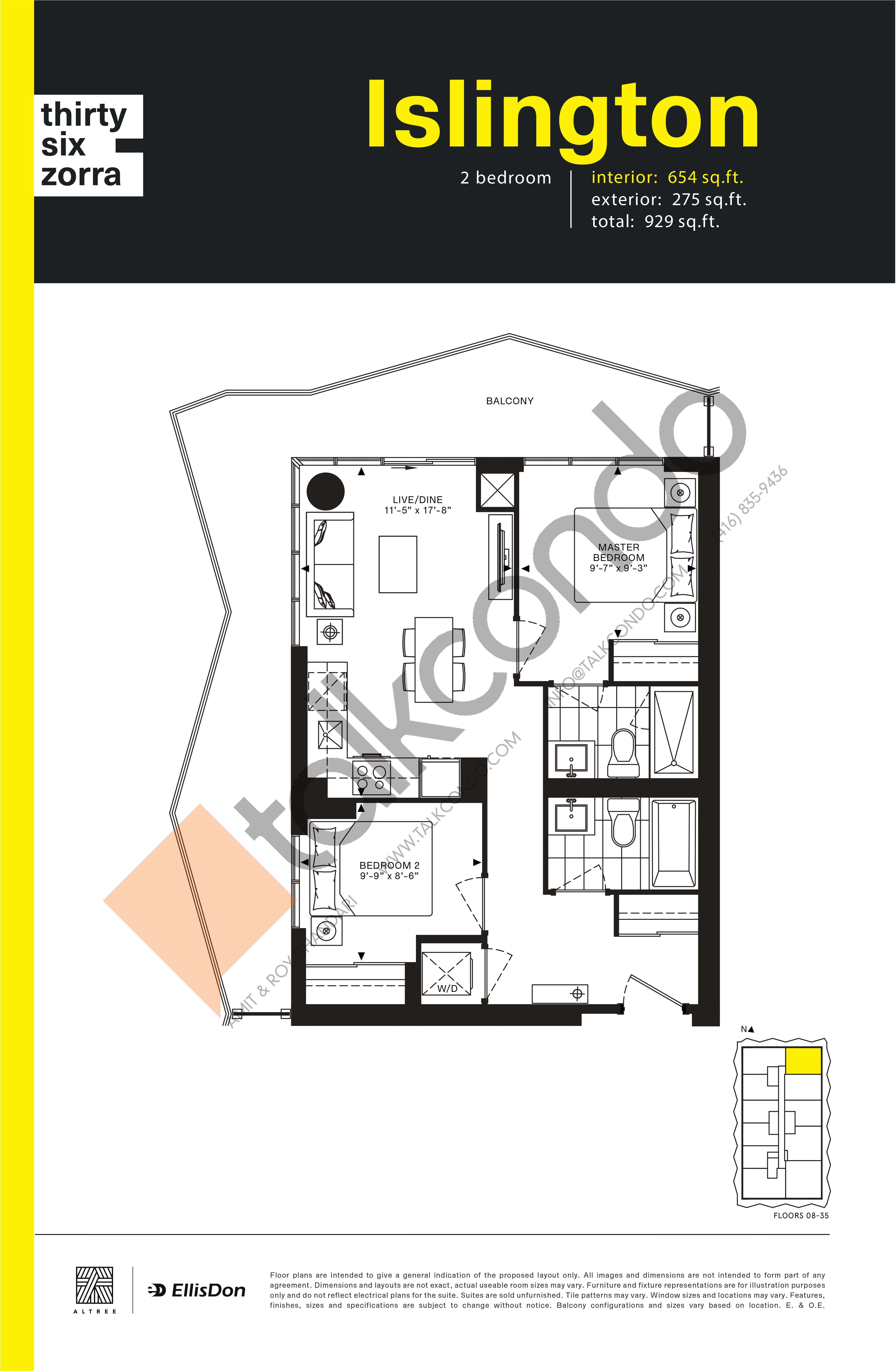 Islington Floor Plan at Thirty Six Zorra Condos - 654 sq.ft