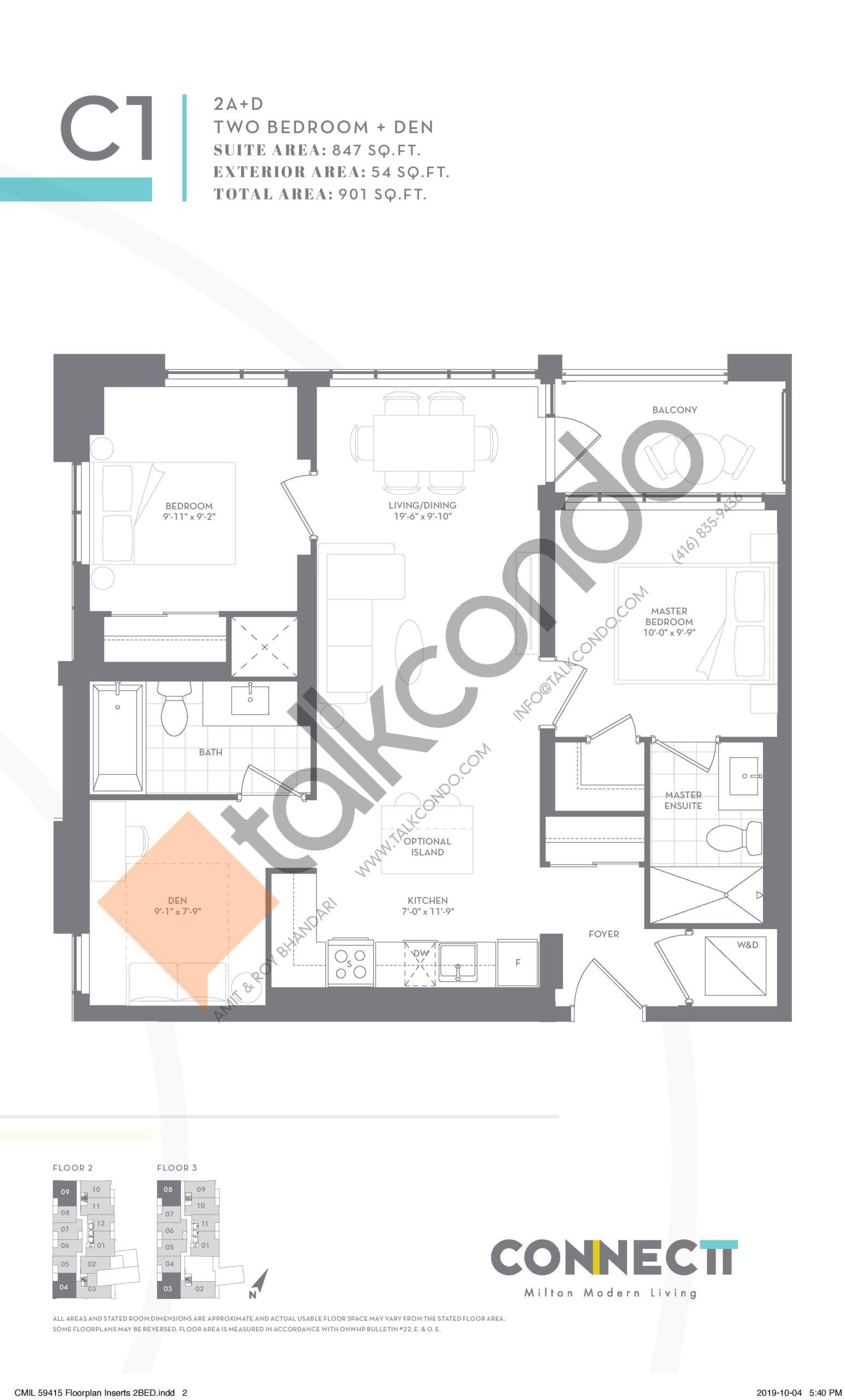2A+D Floor Plan at Connectt Urban Community Condos - 847 sq.ft