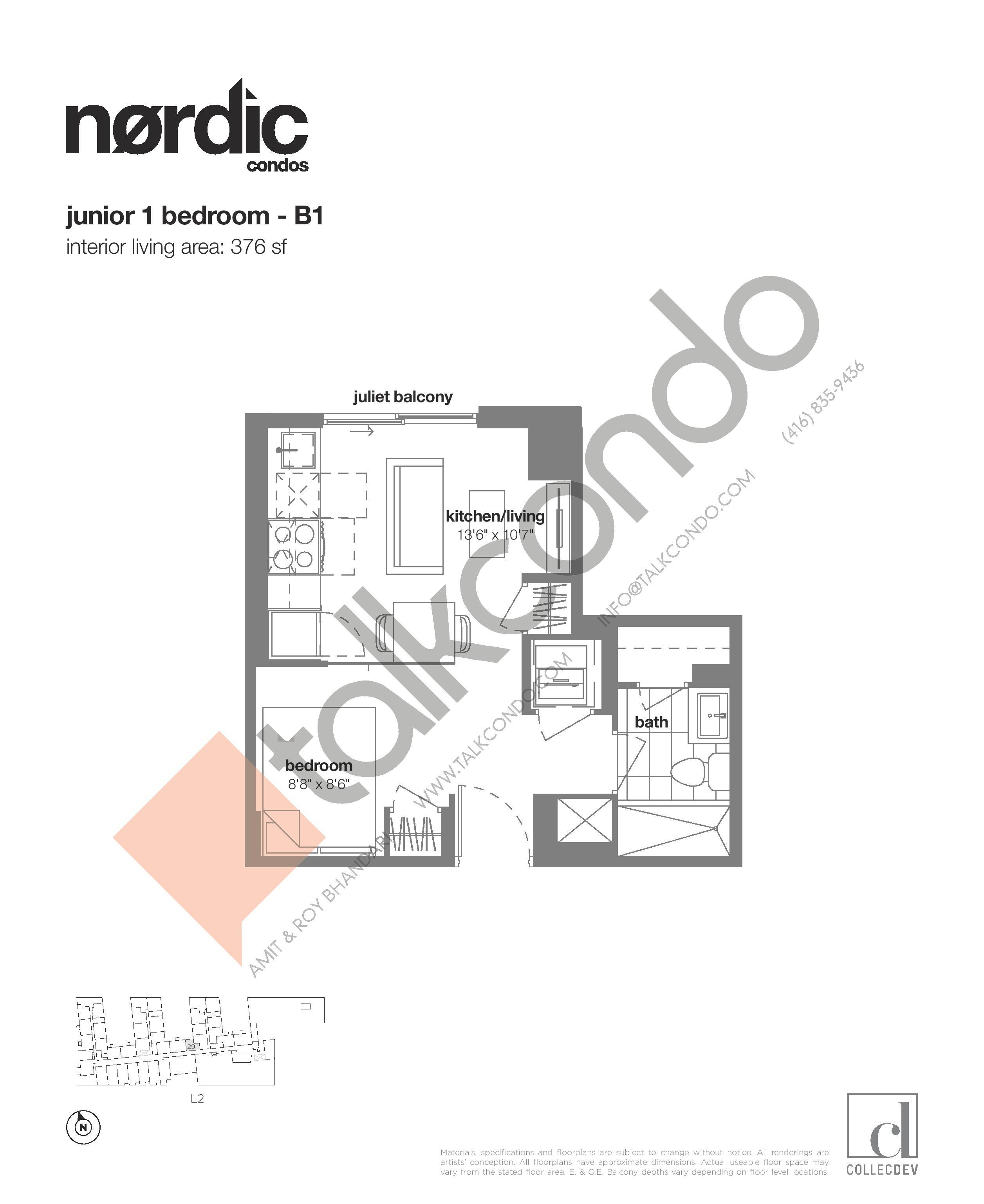 B1 Floor Plan at Nordic Condos - 376 sq.ft