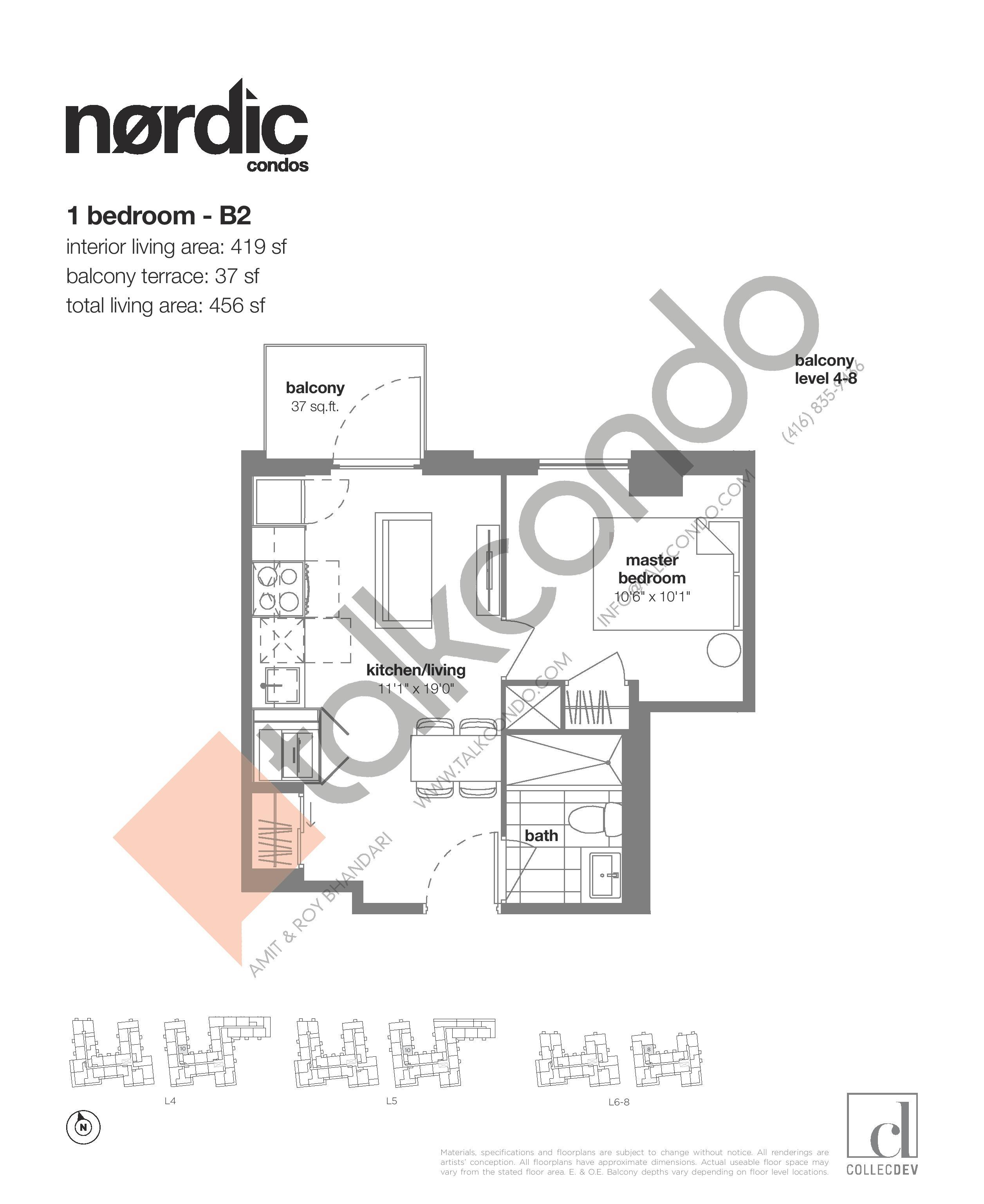B2 Floor Plan at Nordic Condos - 419 sq.ft