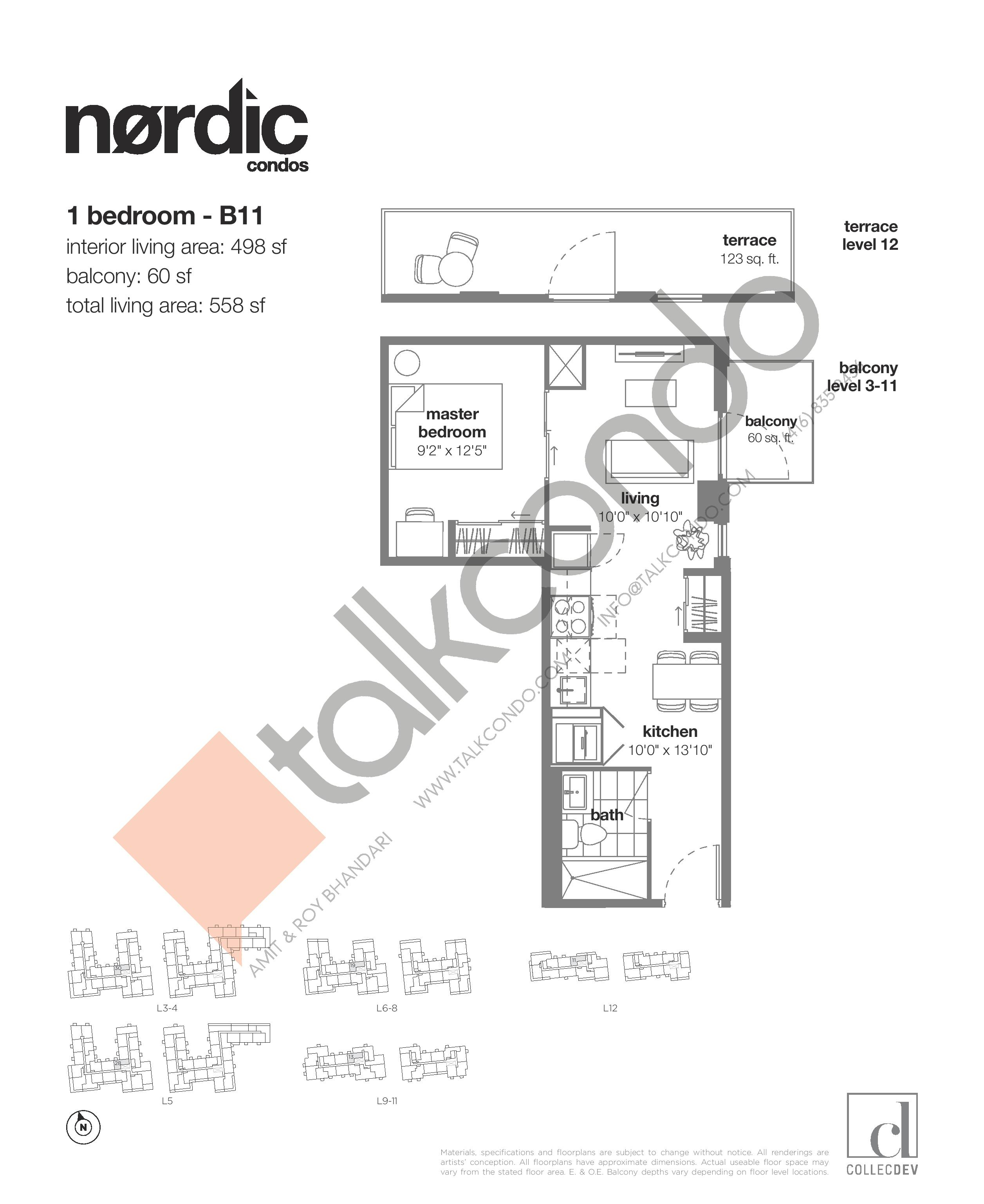 B11 Floor Plan at Nordic Condos - 498 sq.ft