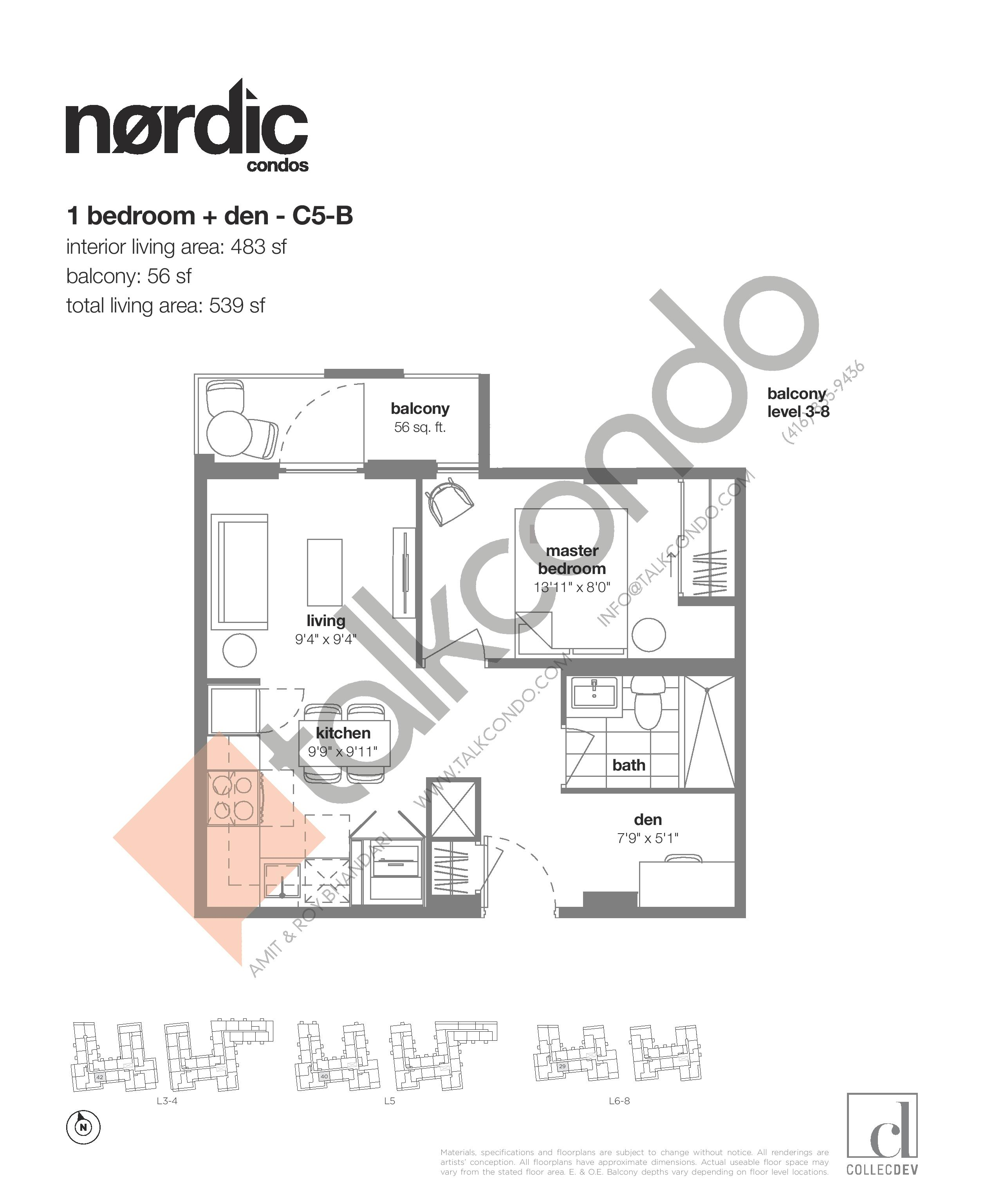 C5-B Floor Plan at Nordic Condos - 483 sq.ft