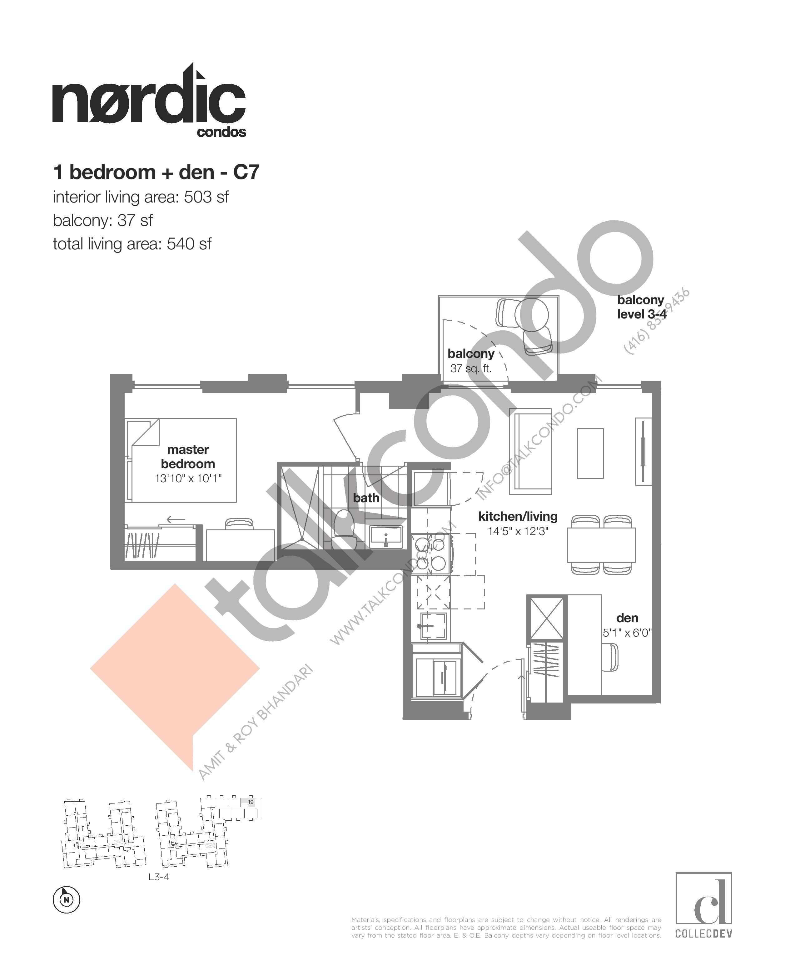 C7 Floor Plan at Nordic Condos - 503 sq.ft