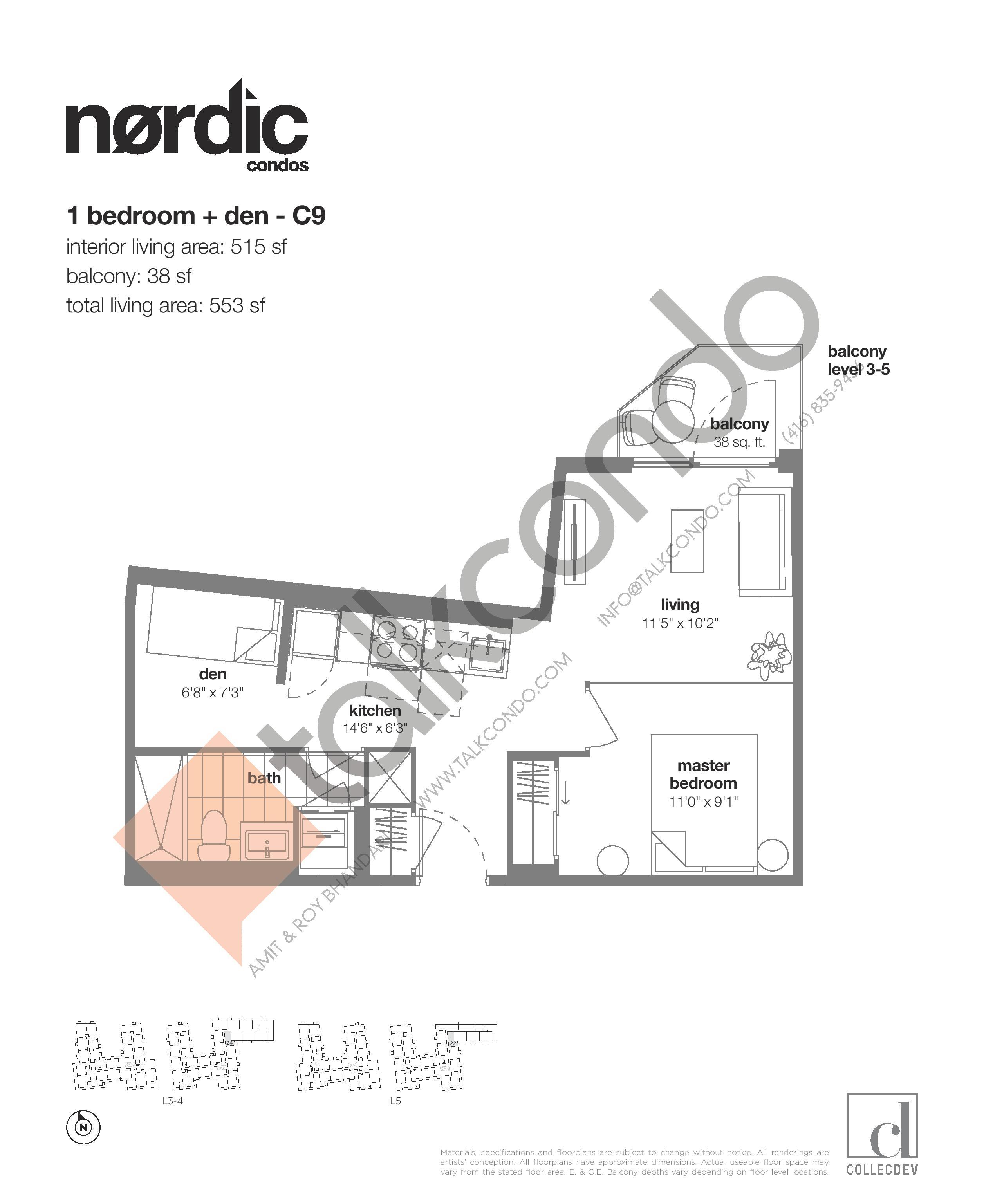 C9 Floor Plan at Nordic Condos - 515 sq.ft