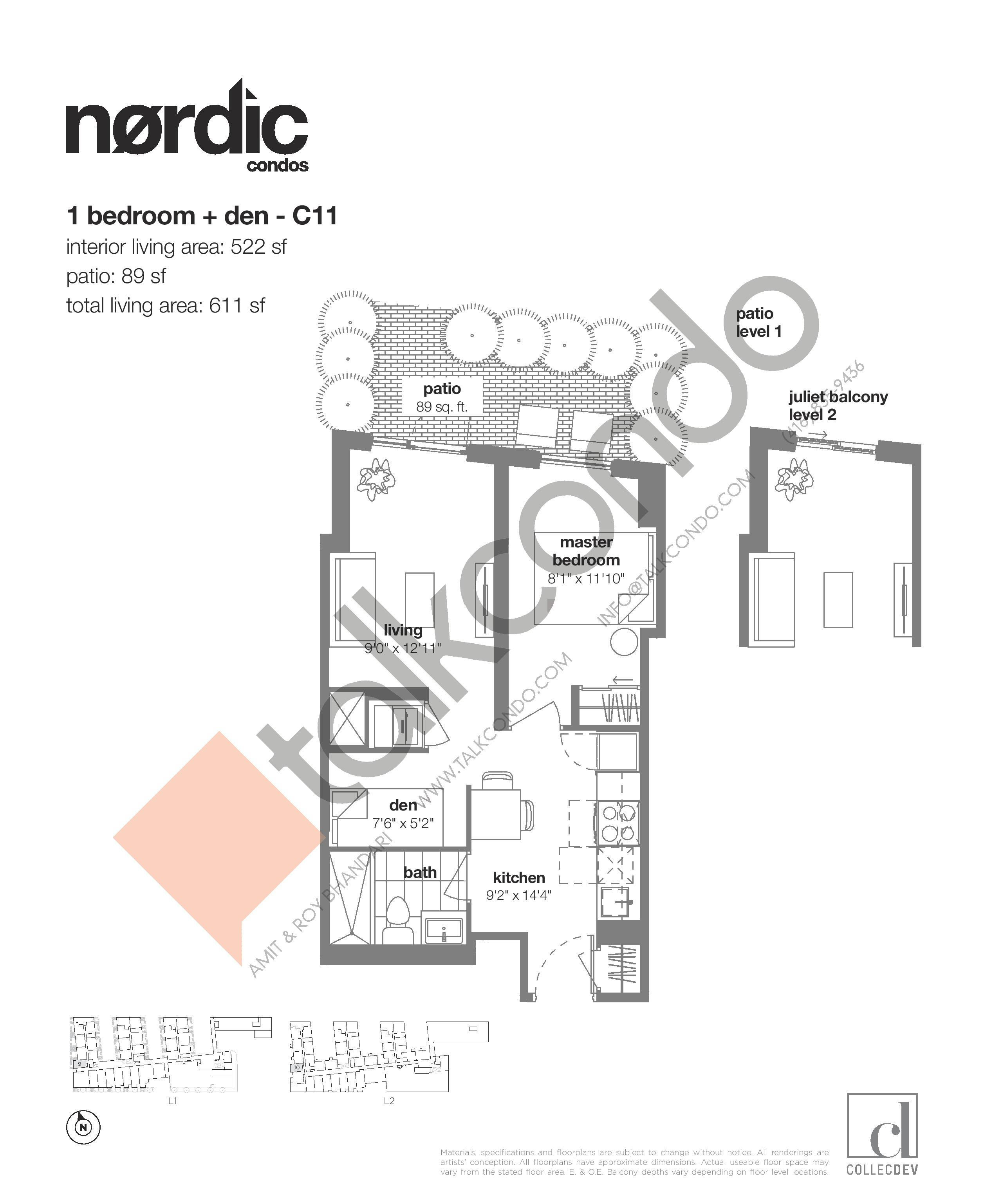 C11 Floor Plan at Nordic Condos - 522 sq.ft