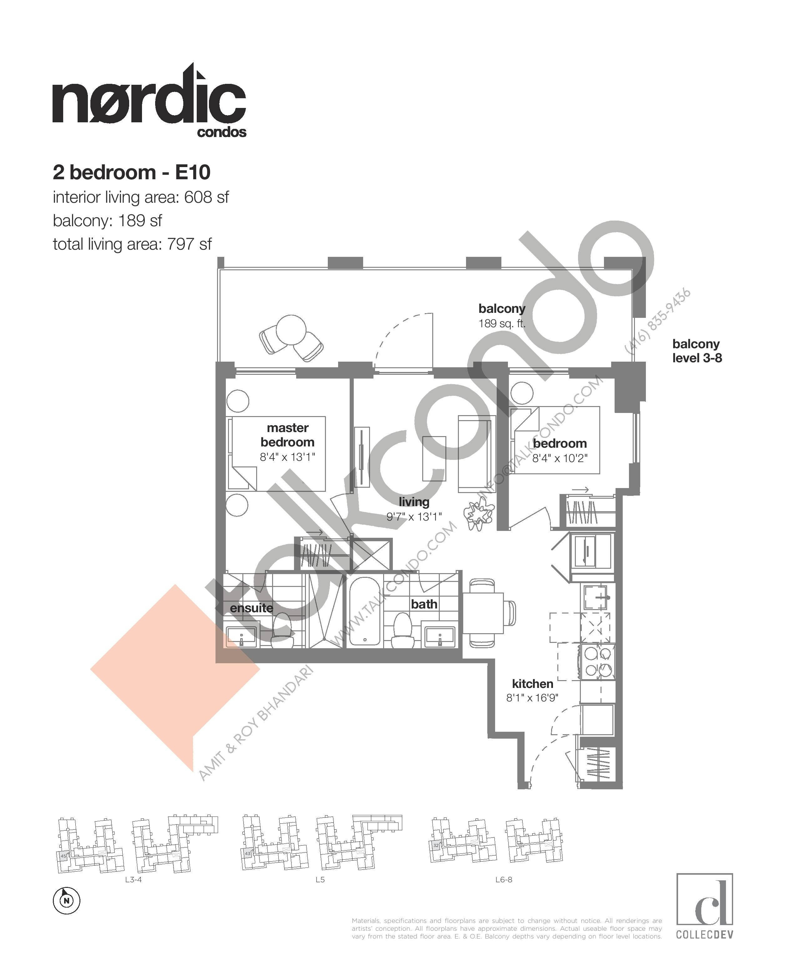 E10 Floor Plan at Nordic Condos - 608 sq.ft