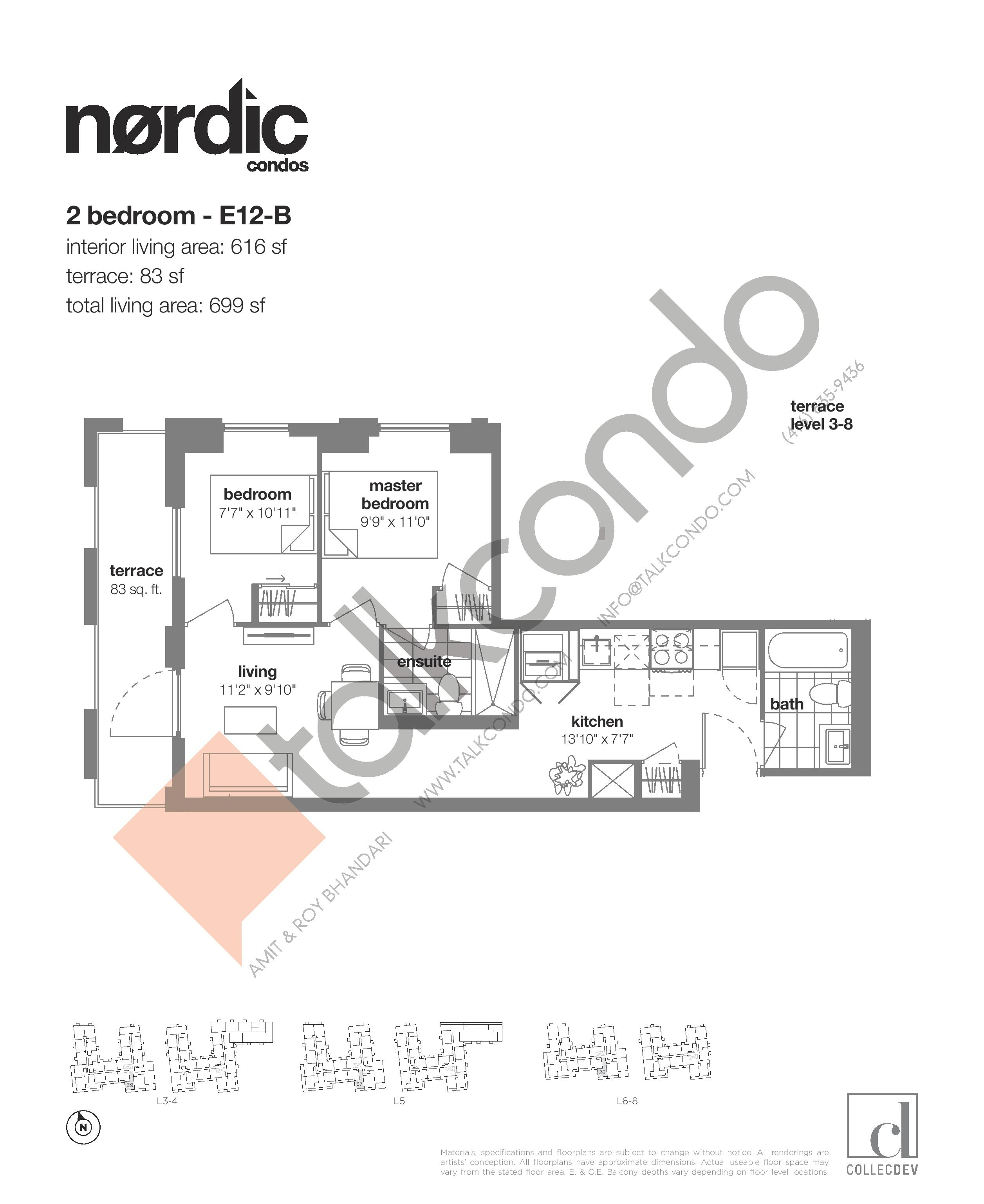 E12-B Floor Plan at Nordic Condos - 616 sq.ft