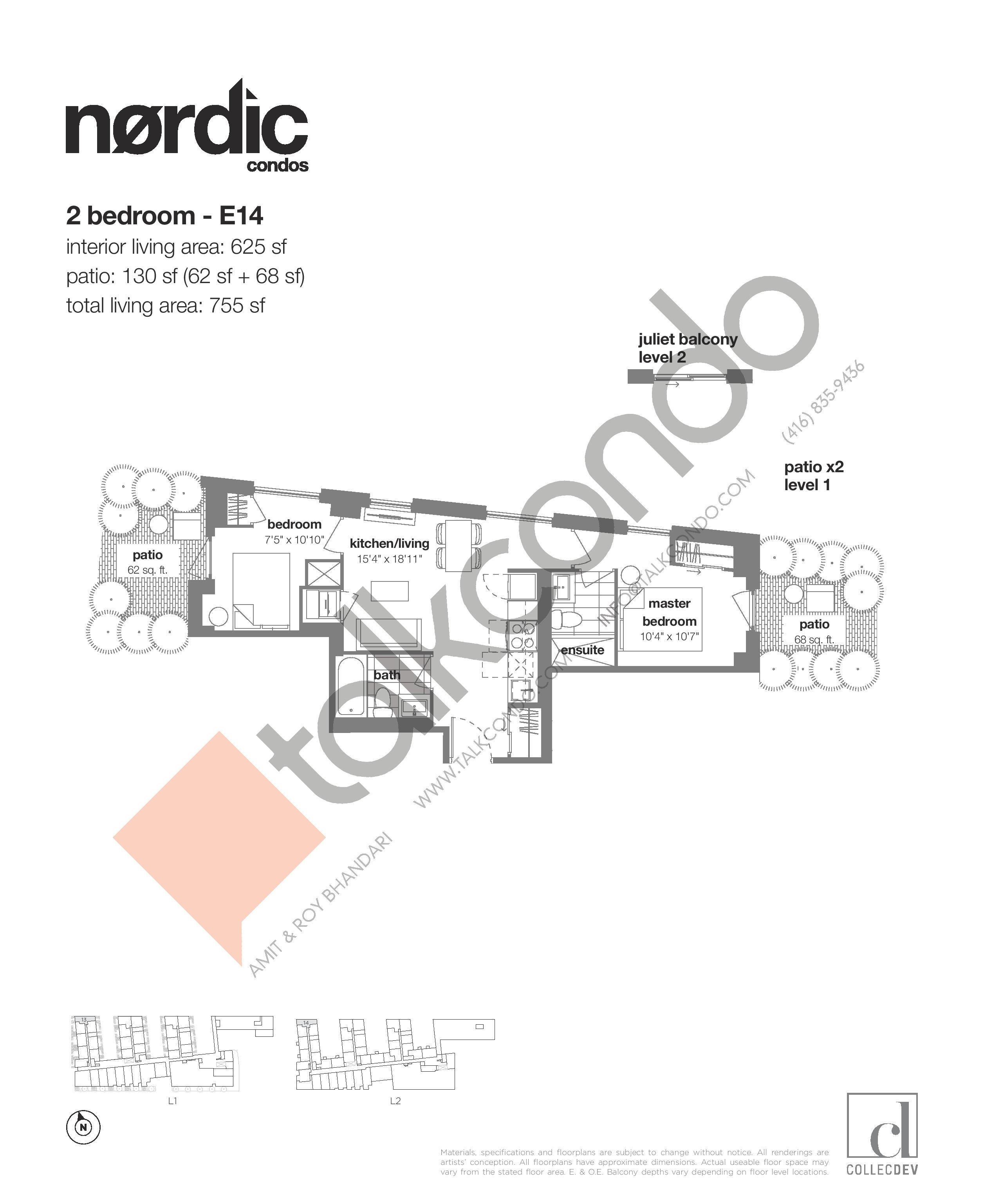 E14 Floor Plan at Nordic Condos - 625 sq.ft