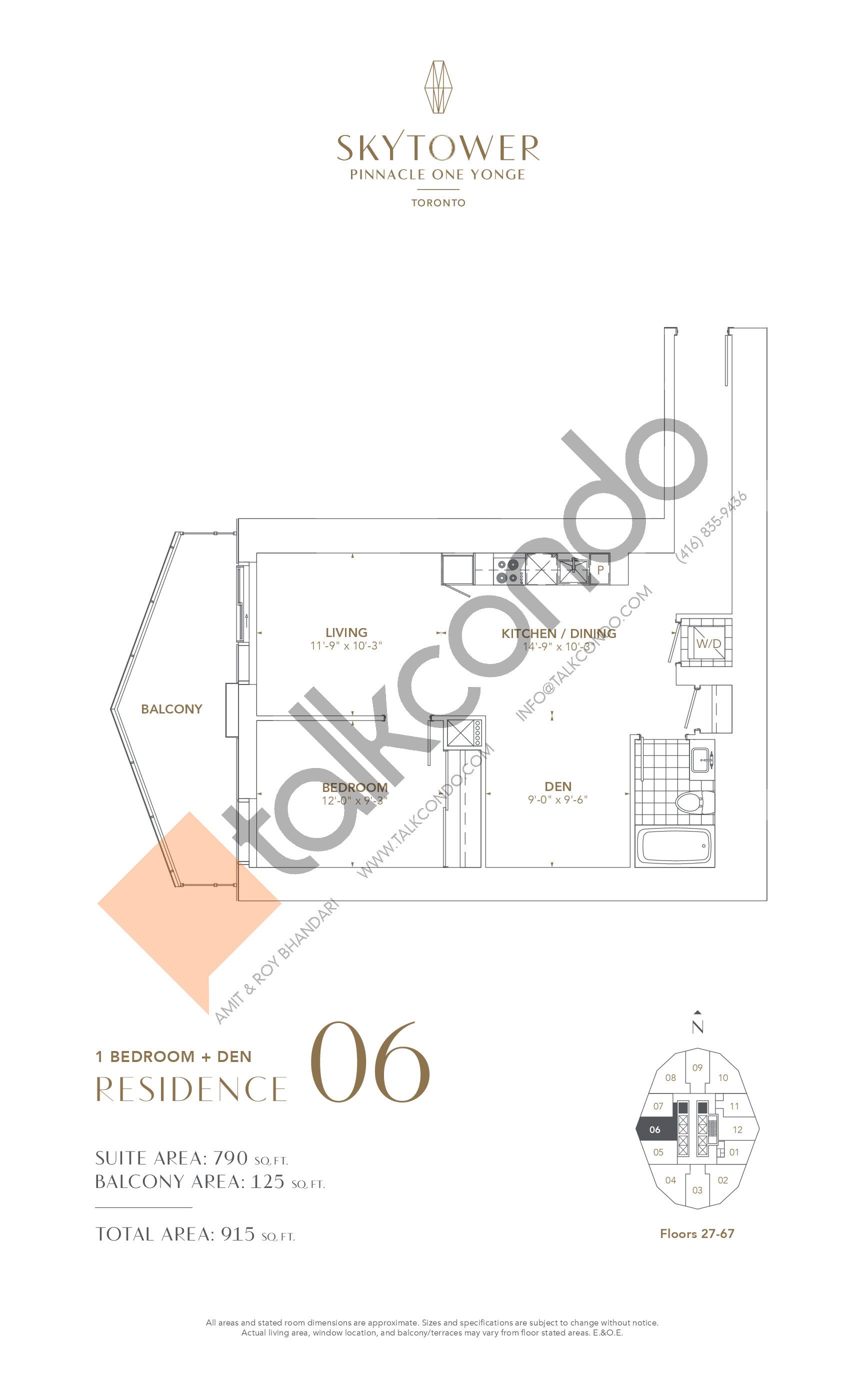 Residence 06 Floor Plan at SkyTower at Pinnacle One Yonge - 790 sq.ft