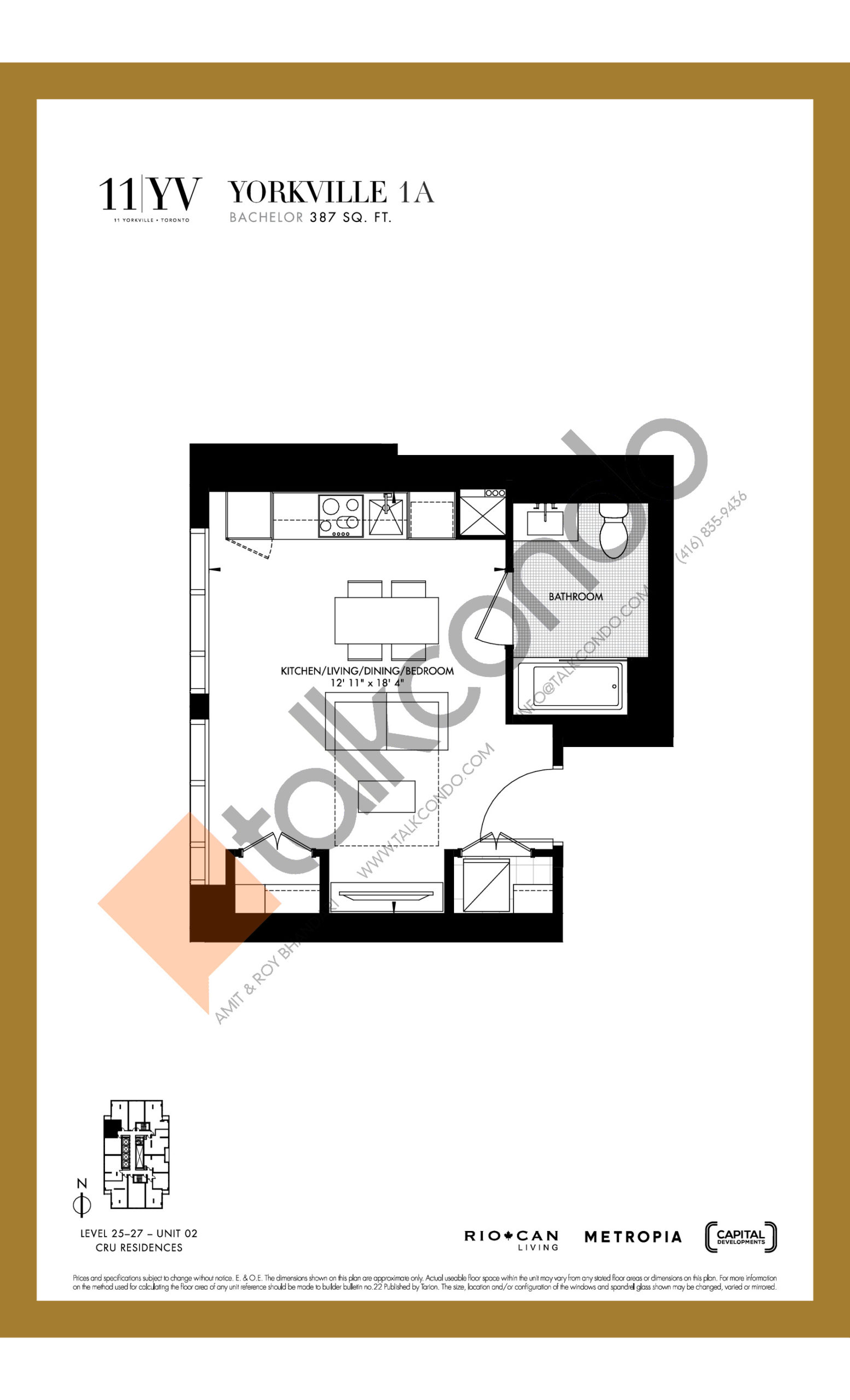 Yorkville 1A Floor Plan at 11YV Condos - 387 sq.ft