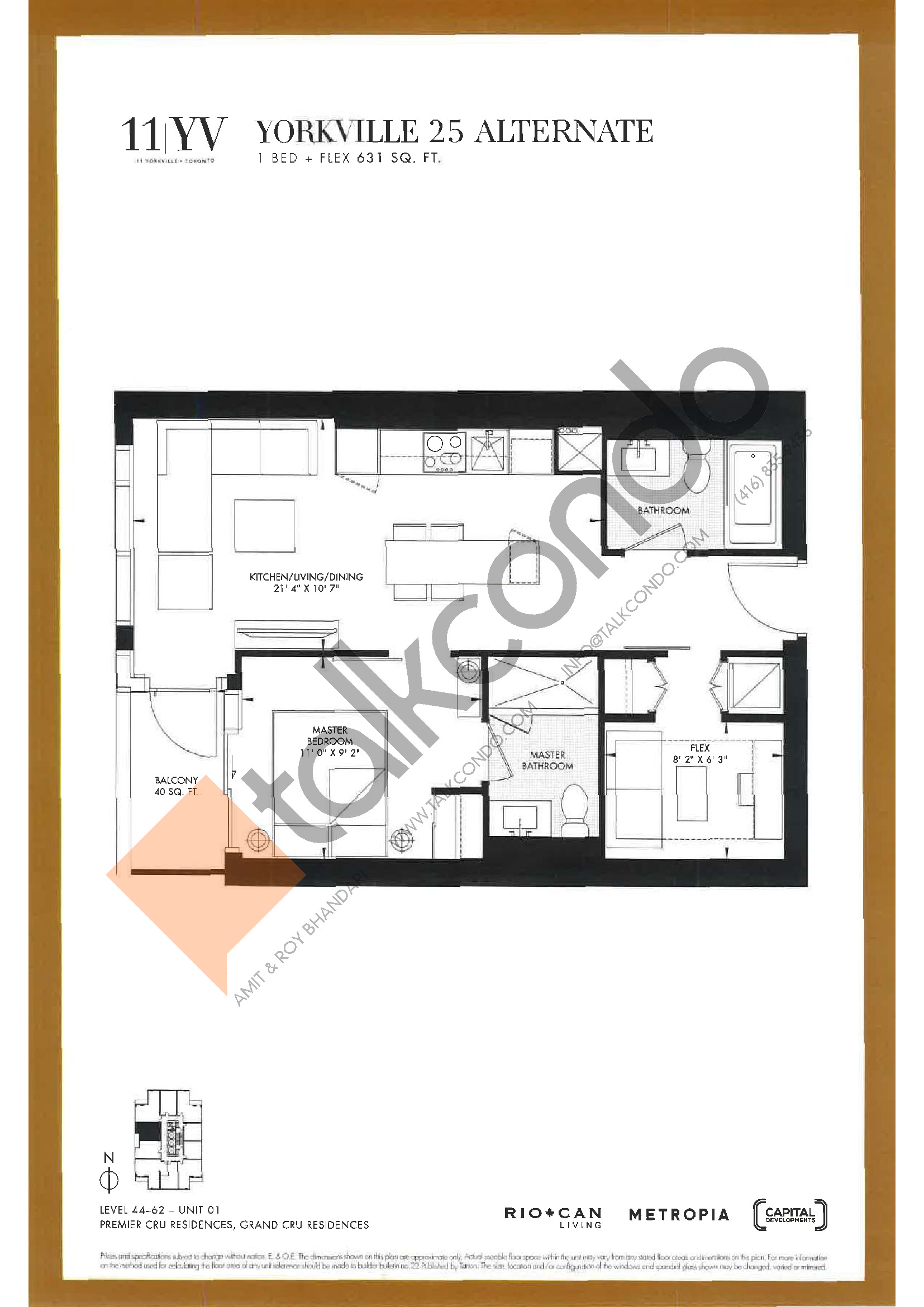 Yorkville 25 Alternate Floor Plan at 11YV Condos - 631 sq.ft