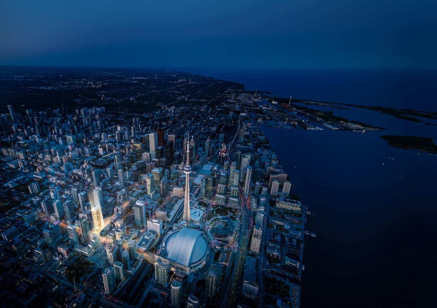 aerial view of toronto and 55 mercer condos