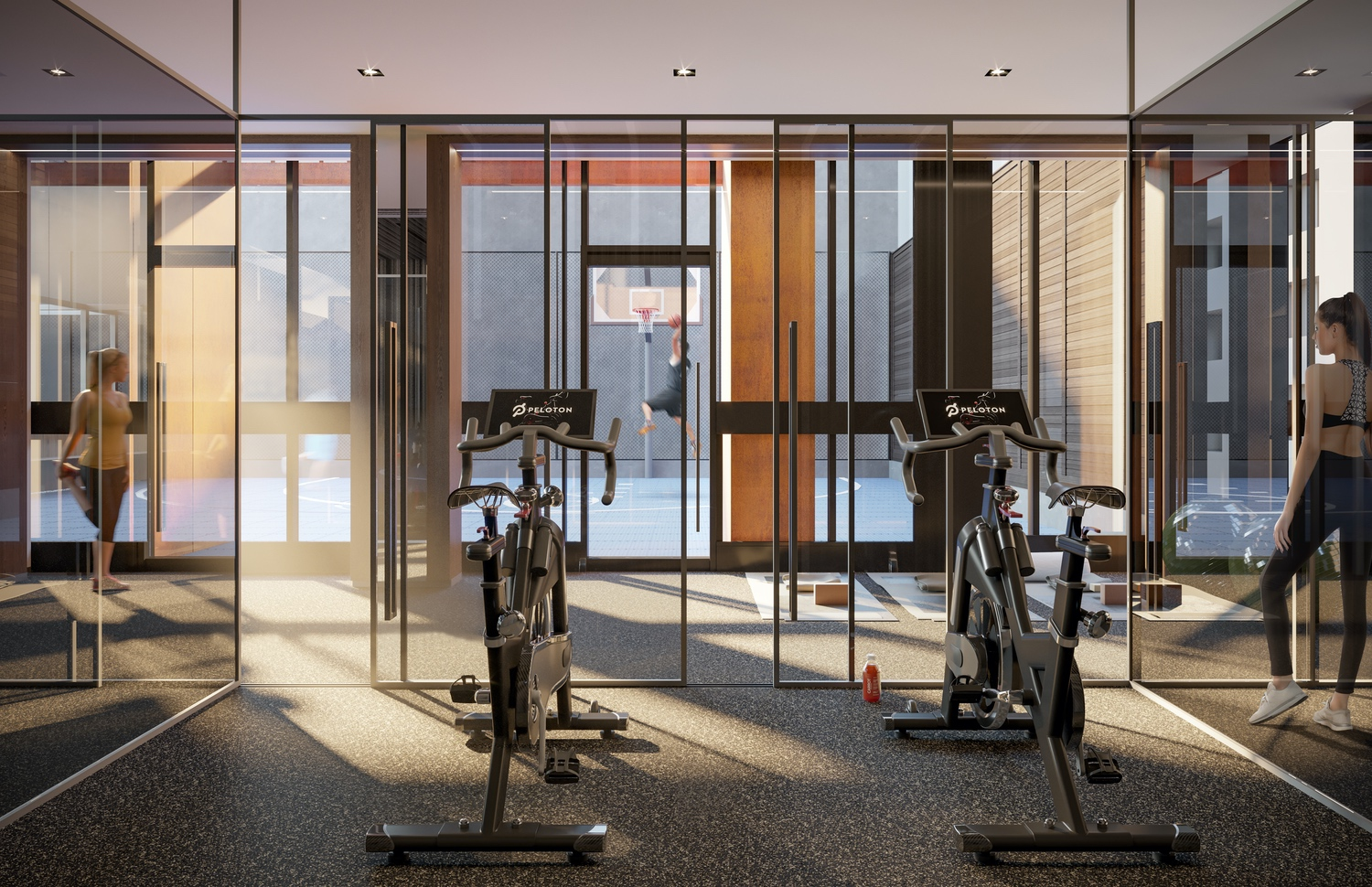 peloton bikes in the gym of 55 mercer condos