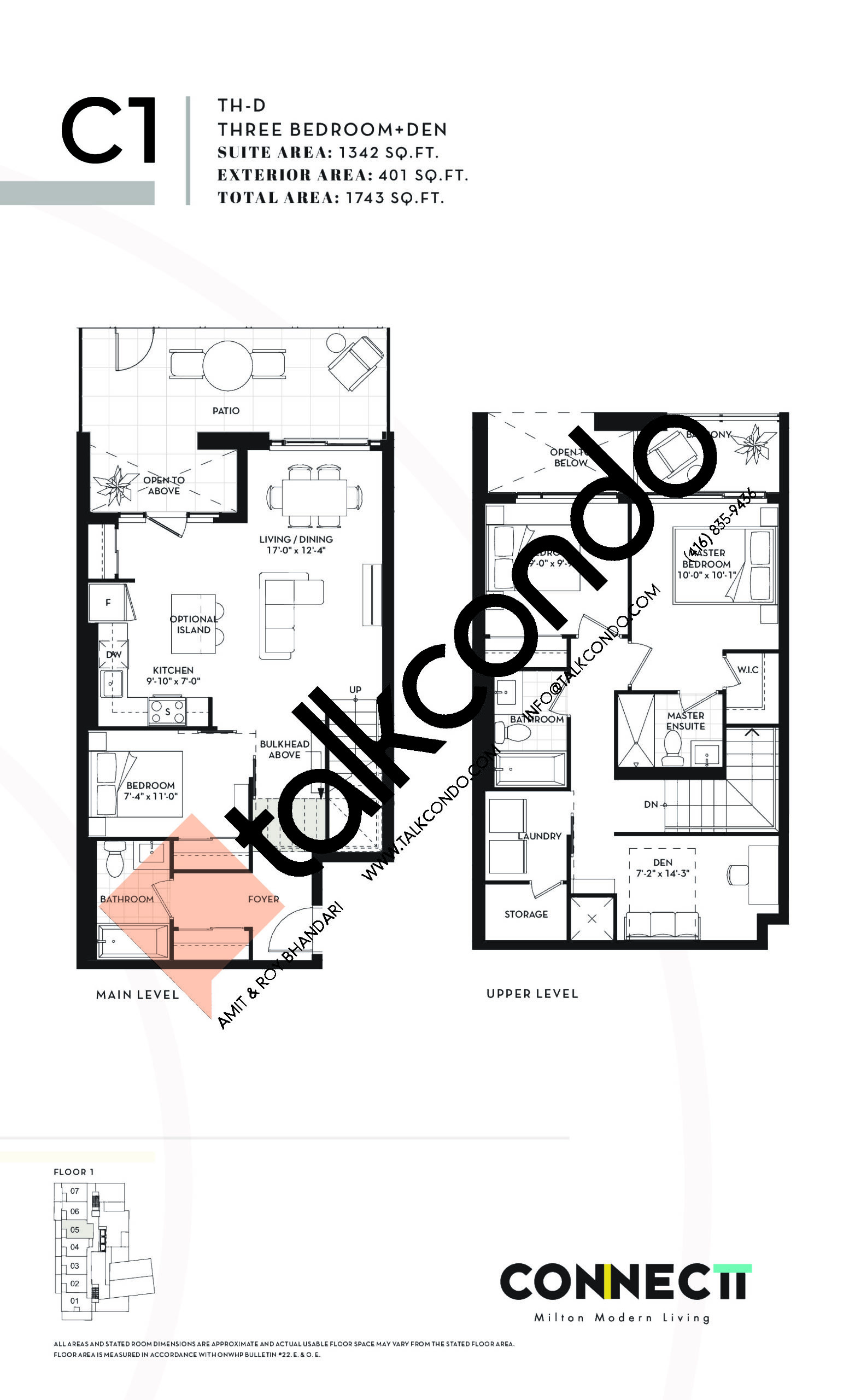 TH-D Floor Plan at Connectt Urban Community Condos - 1342 sq.ft
