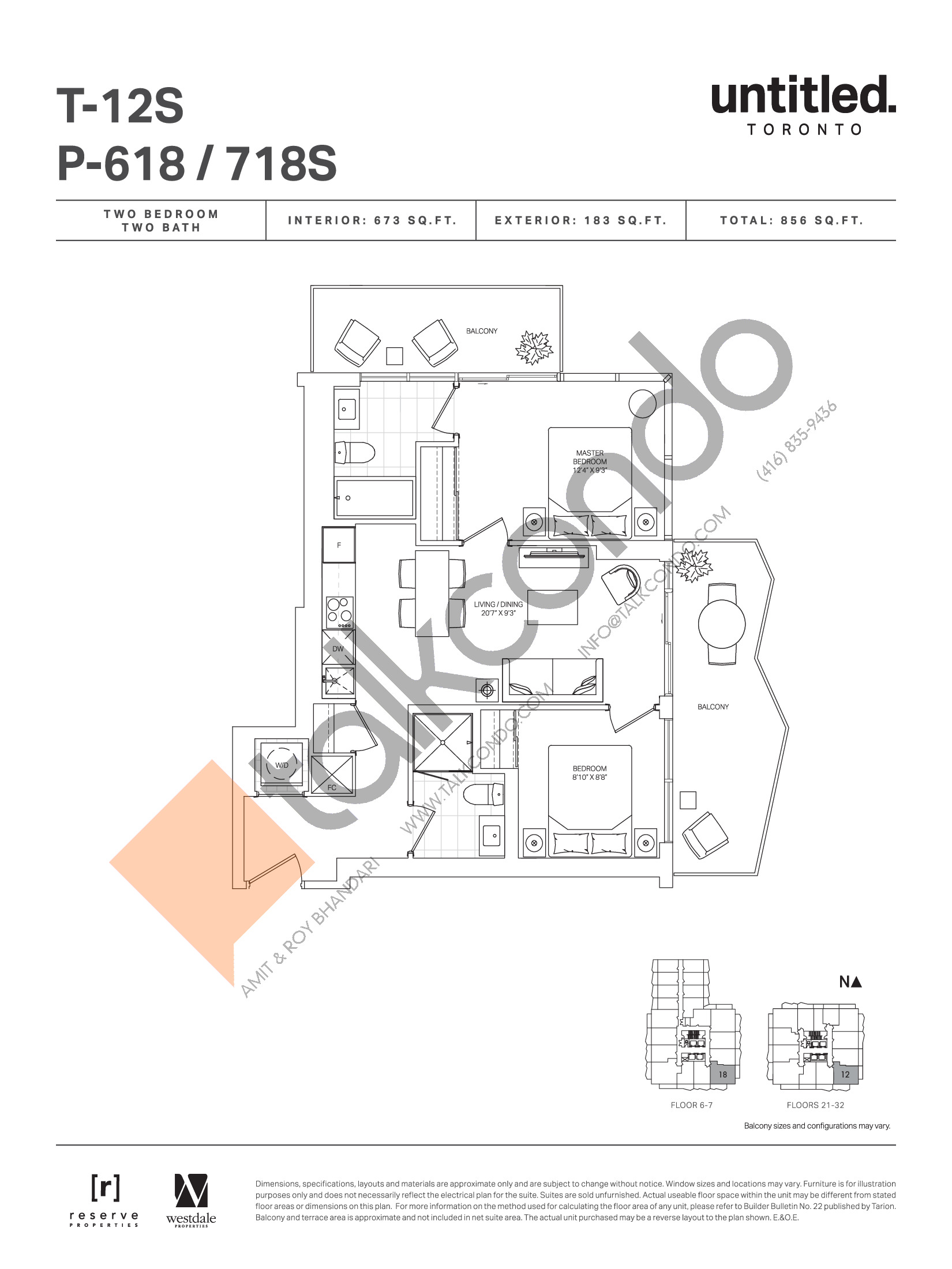 T-12S / P-618 / 718S (Floor 6-7, 21-32) Floor Plan at Untitled Toronto Condos - 673 sq.ft