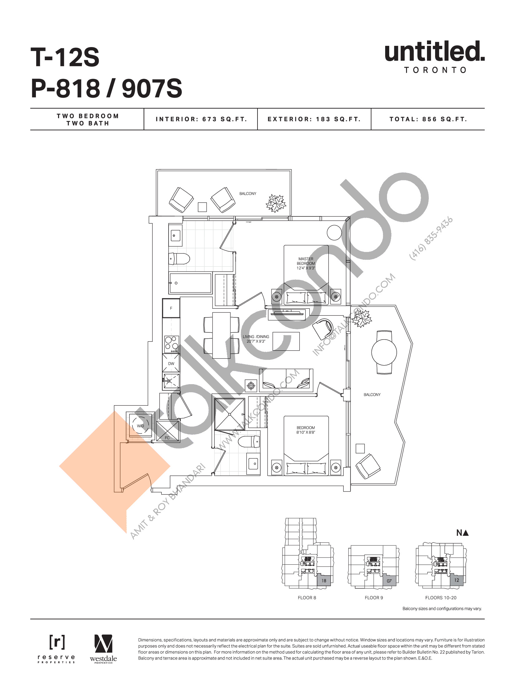T-12S / P-818 / 907S (Floor 8-20) Floor Plan at Untitled Toronto Condos - 673 sq.ft