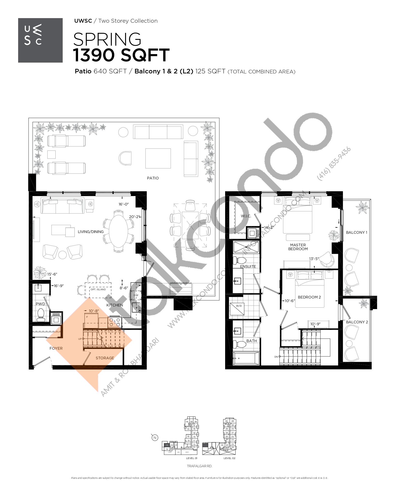 Spring Floor Plan at Upper West Side Condos at Oakvillage - 1390 sq.ft