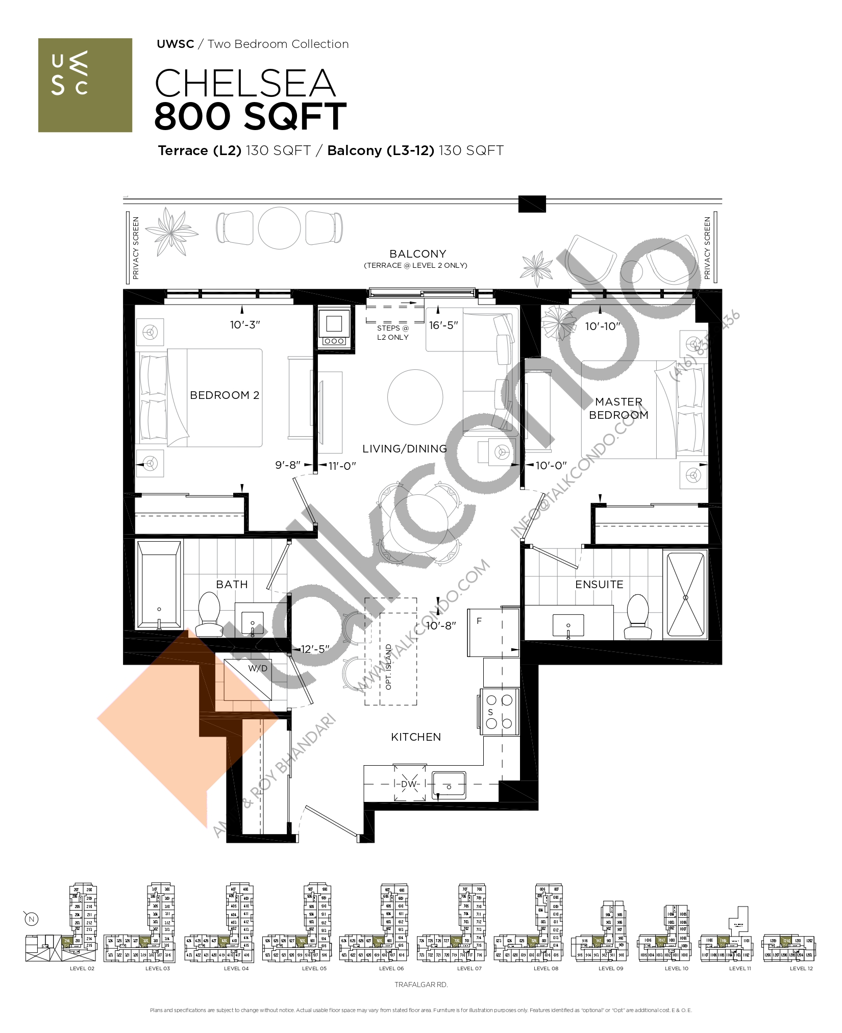 Chelsea Floor Plan at Upper West Side Condos at Oakvillage - 800 sq.ft