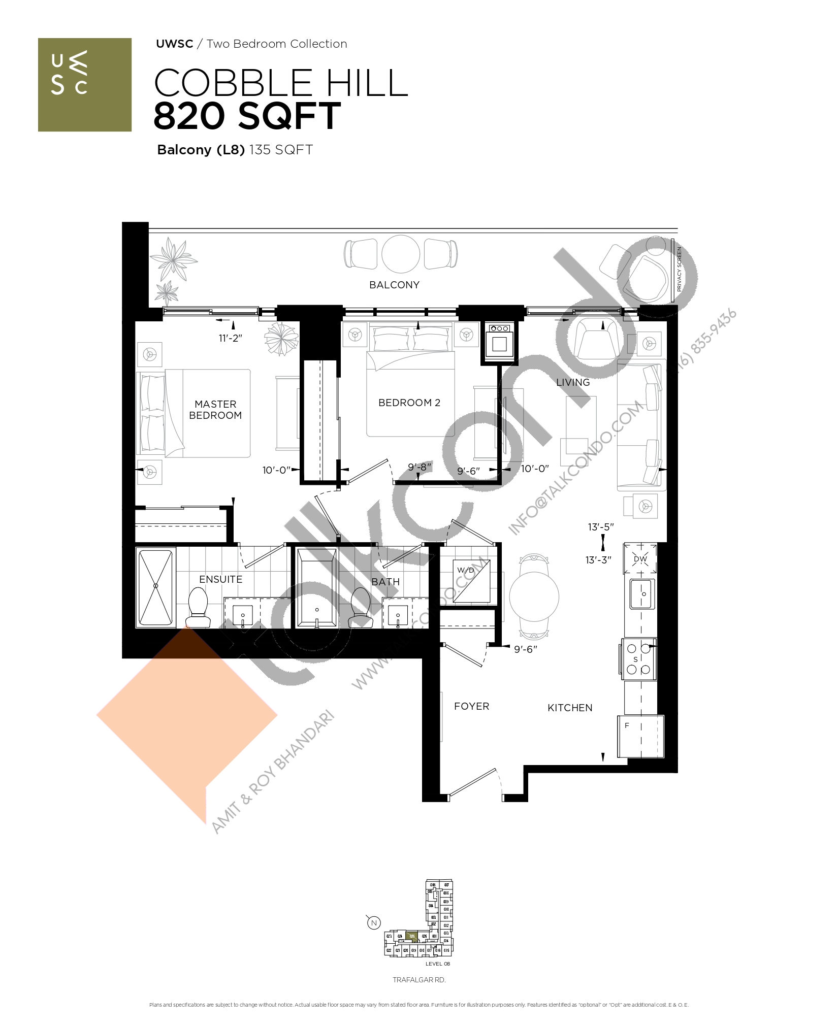 Cobble Hill Floor Plan at Upper West Side Condos at Oakvillage - 820 sq.ft