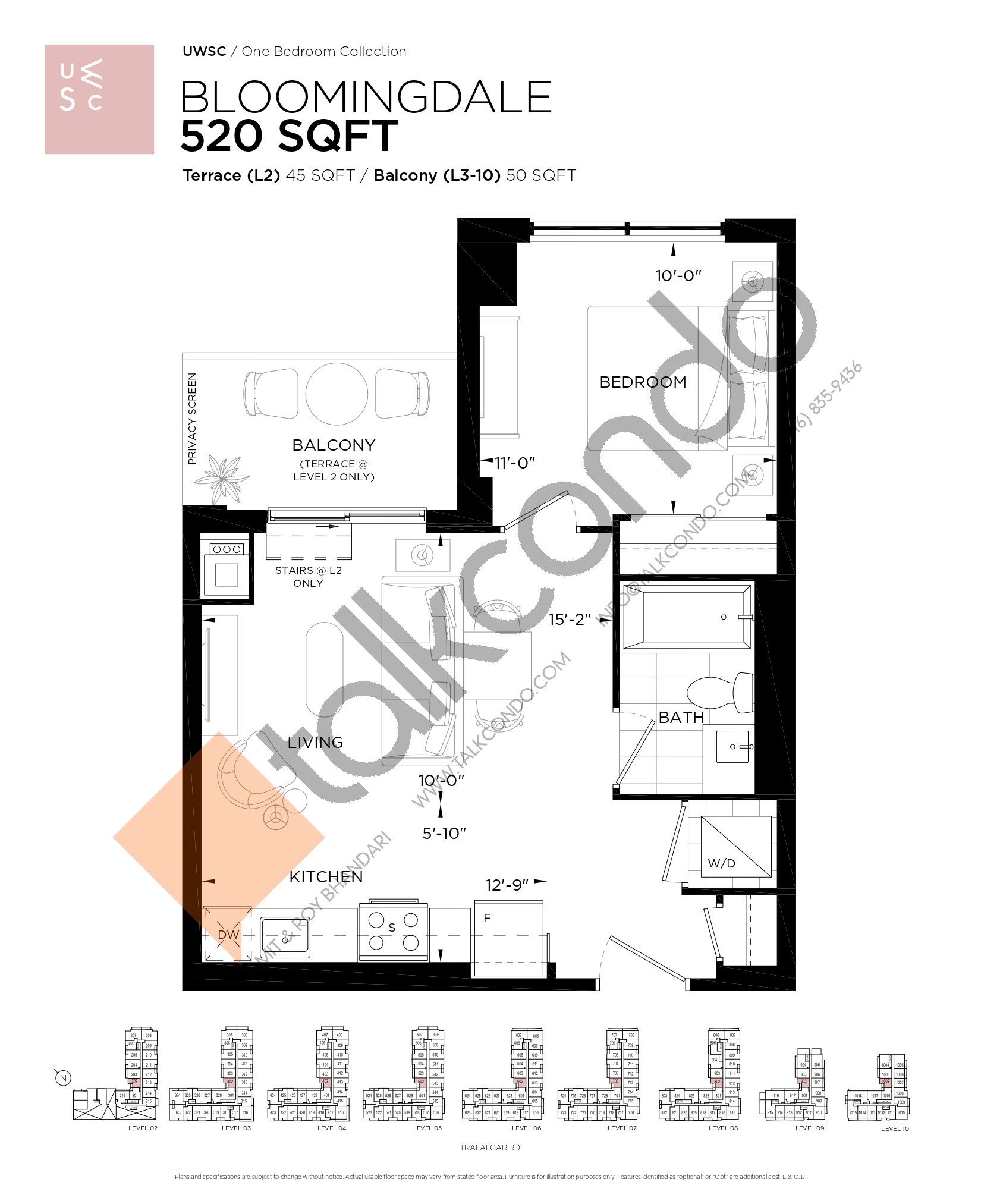 Bloomingdale Floor Plan at Upper West Side Condos at Oakvillage - 520 sq.ft