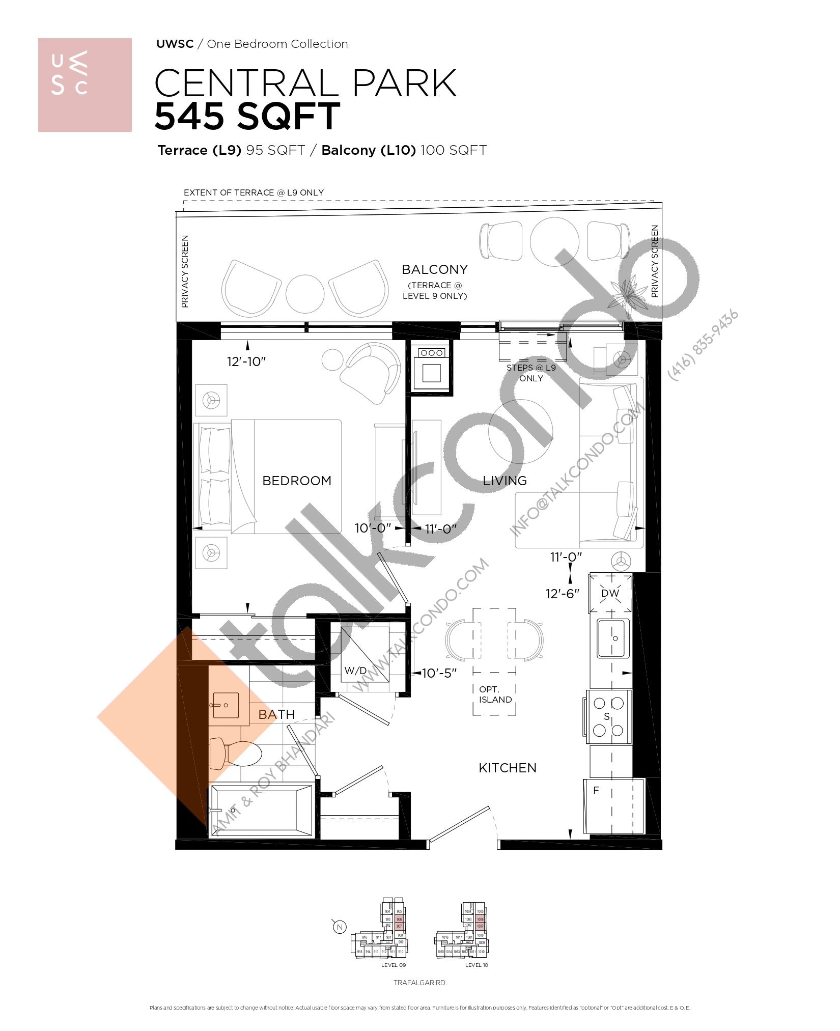 Central Park Floor Plan at Upper West Side Condos at Oakvillage - 545 sq.ft