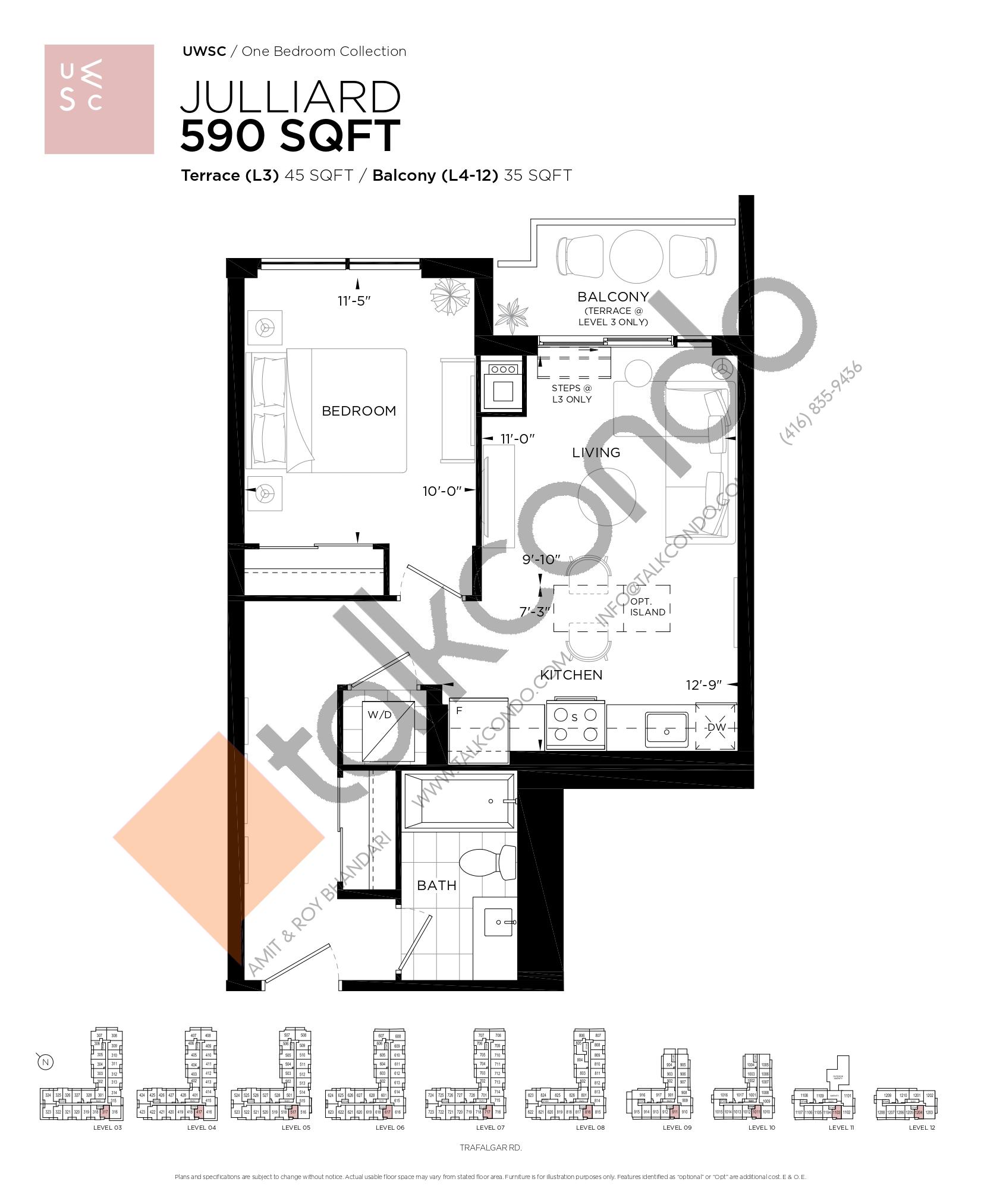 Julliard Floor Plan at Upper West Side Condos at Oakvillage - 590 sq.ft