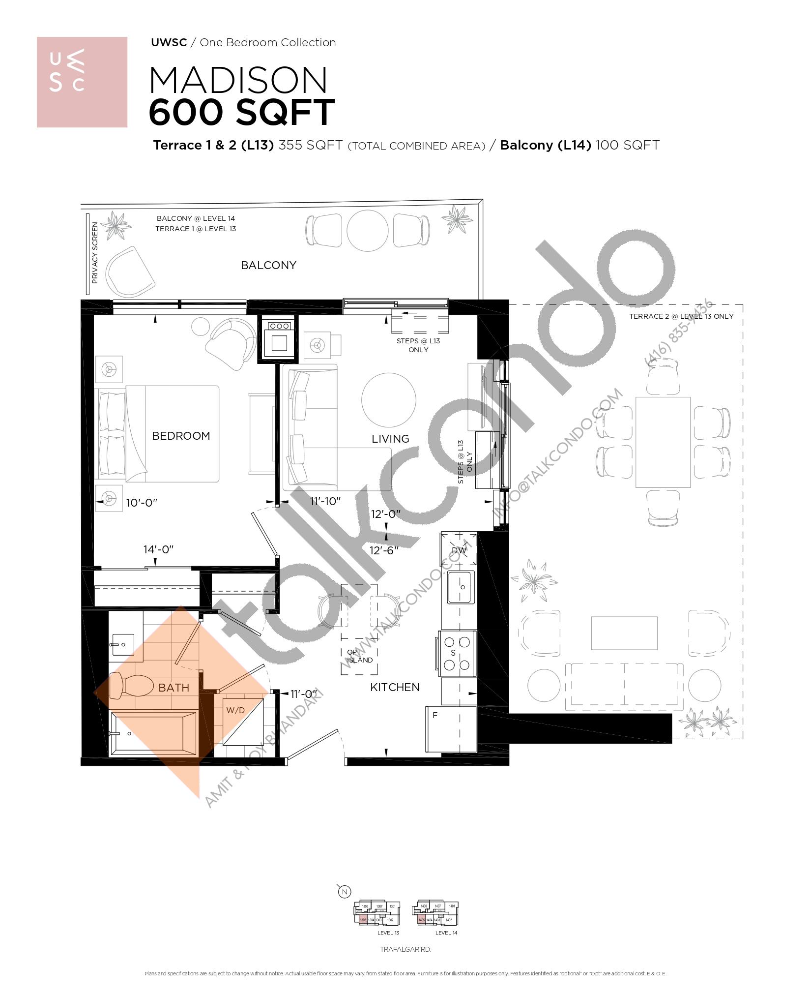 Madison Floor Plan at Upper West Side Condos at Oakvillage - 600 sq.ft