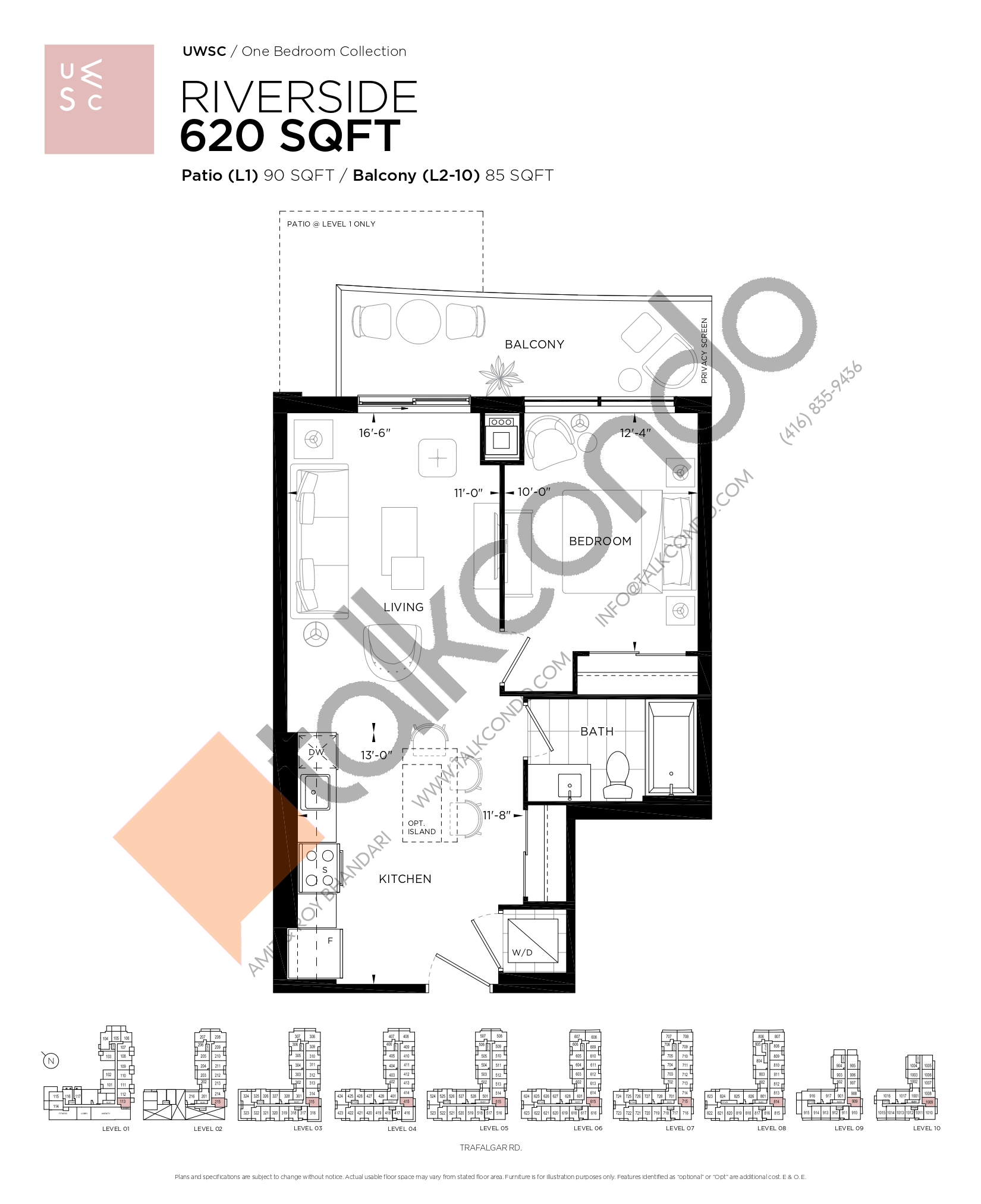 Riverside Floor Plan at Upper West Side Condos at Oakvillage - 620 sq.ft