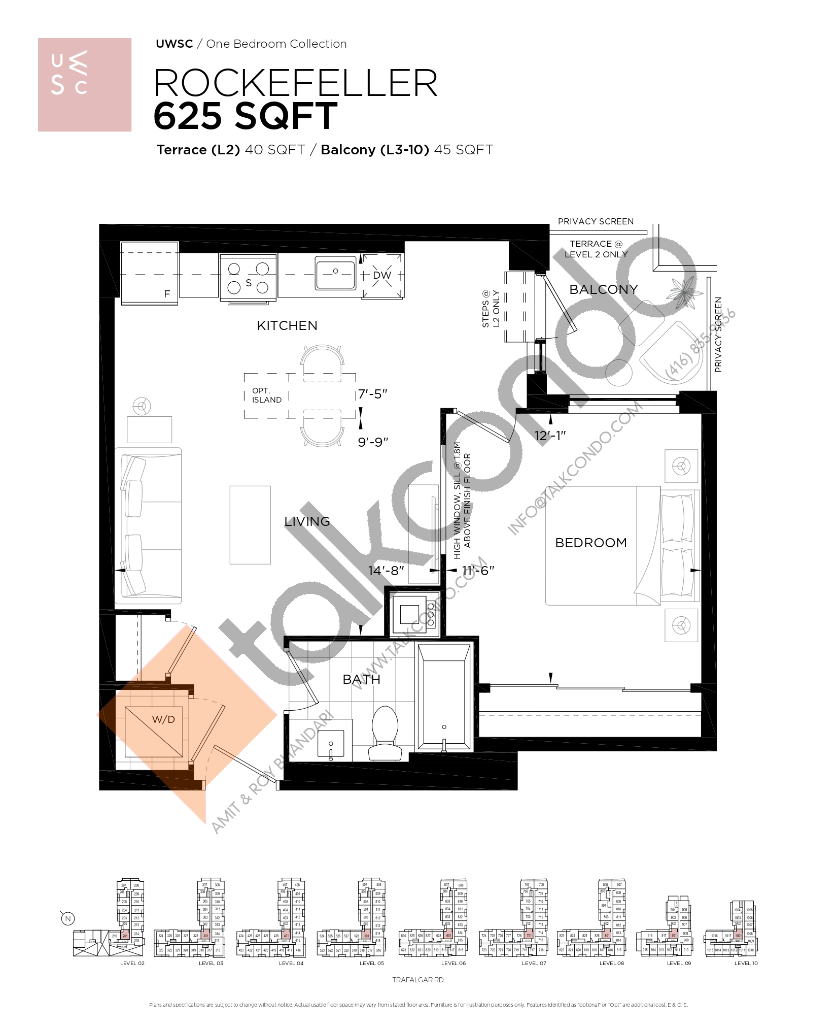 Rockefeller Floor Plan at Upper West Side Condos at Oakvillage - 625 sq.ft