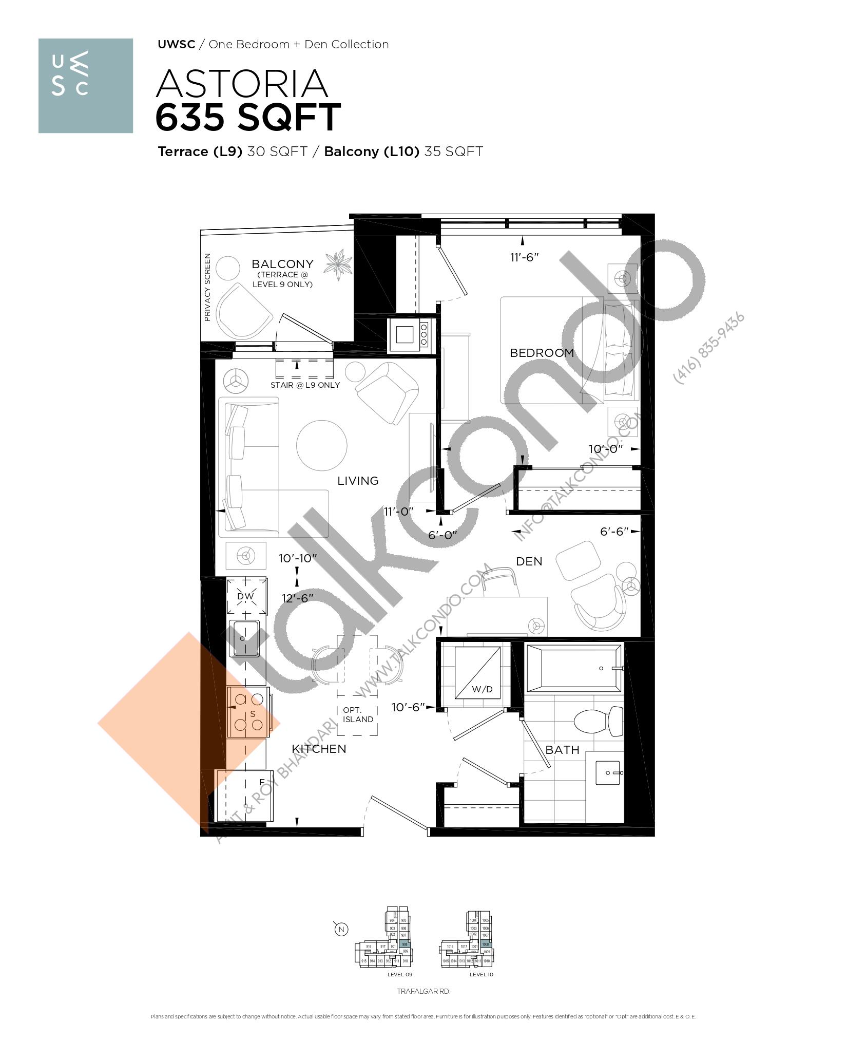 Astoria Floor Plan at Upper West Side Condos at Oakvillage - 635 sq.ft
