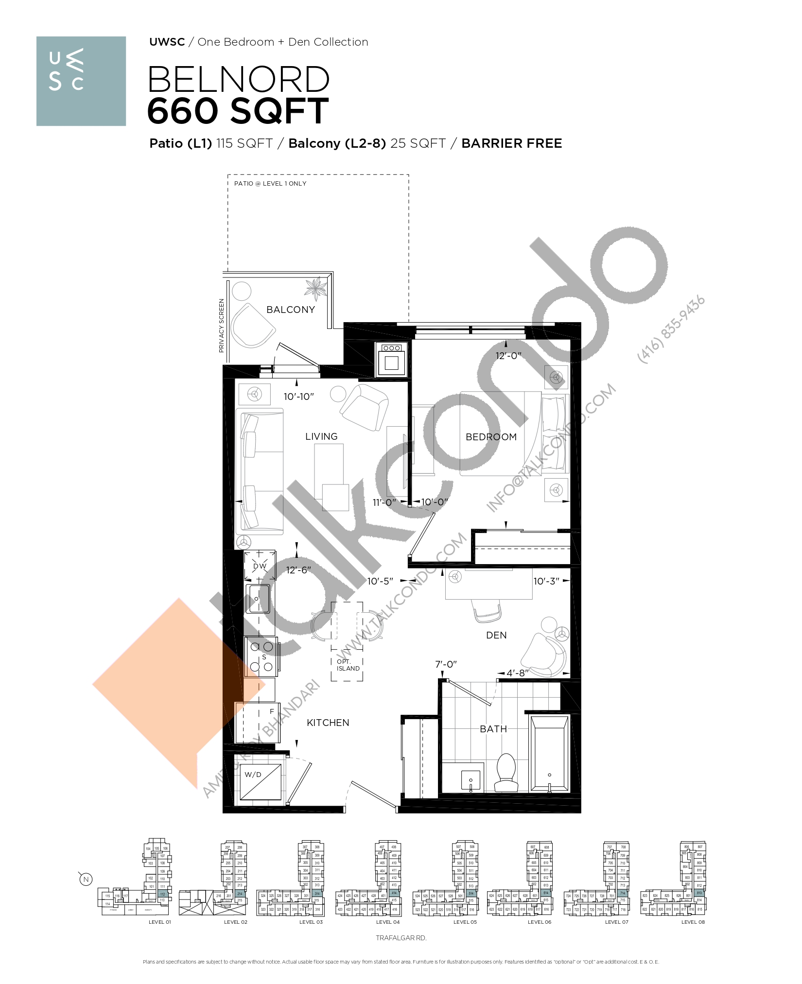 Belnord Floor Plan at Upper West Side Condos at Oakvillage - 660 sq.ft