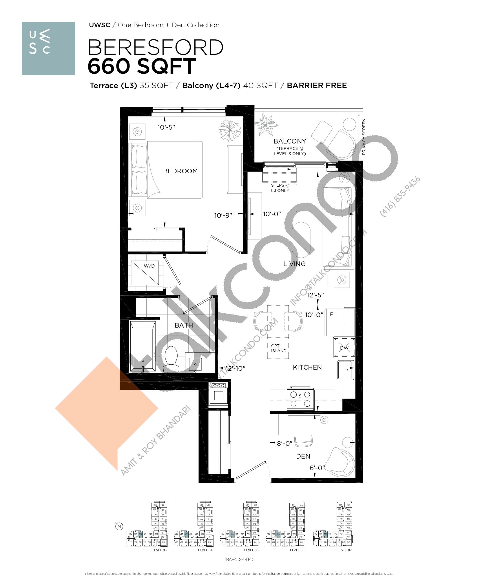 Beresford Floor Plan at Upper West Side Condos at Oakvillage - 660 sq.ft