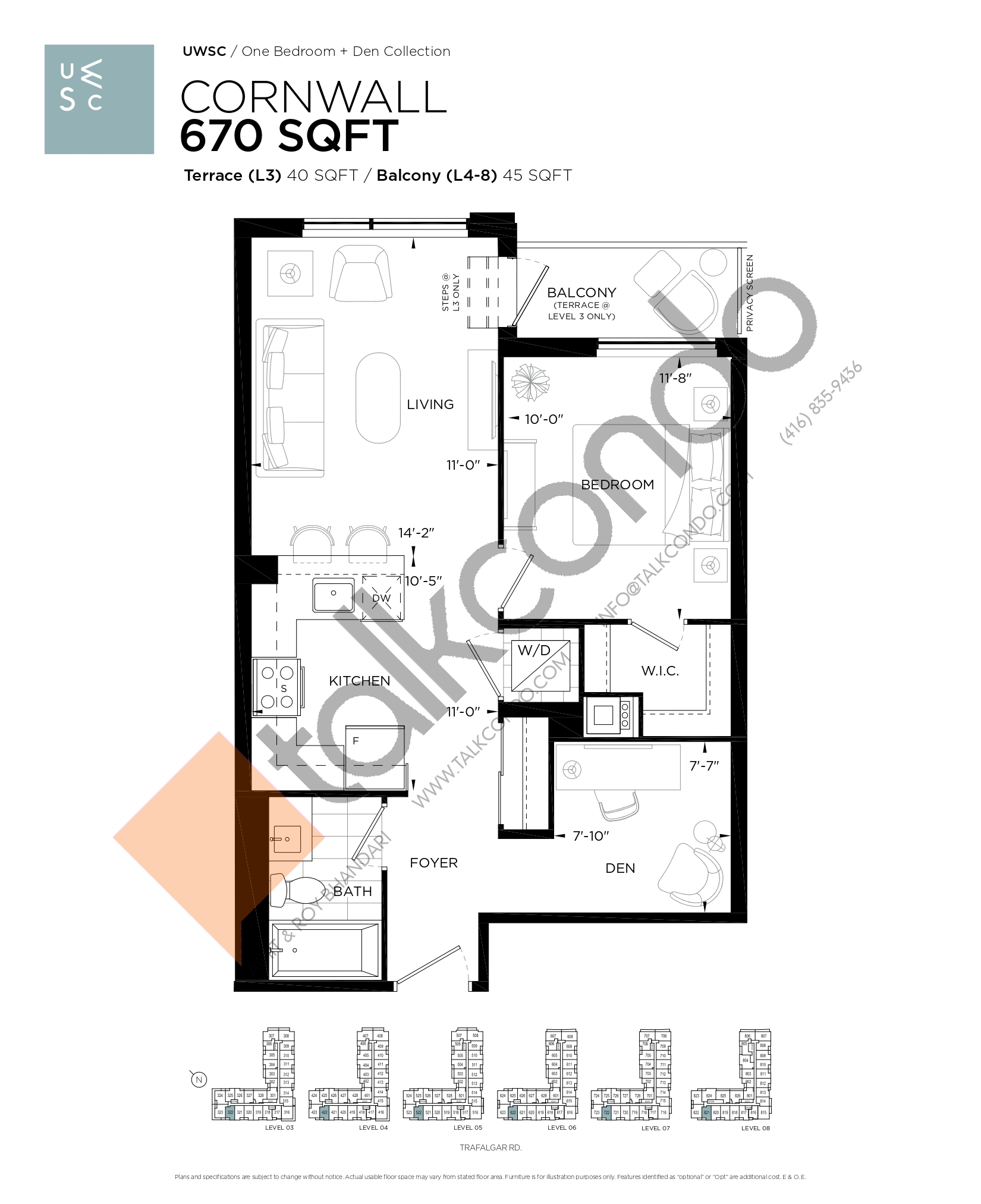 Cornwall Floor Plan at Upper West Side Condos at Oakvillage - 670 sq.ft