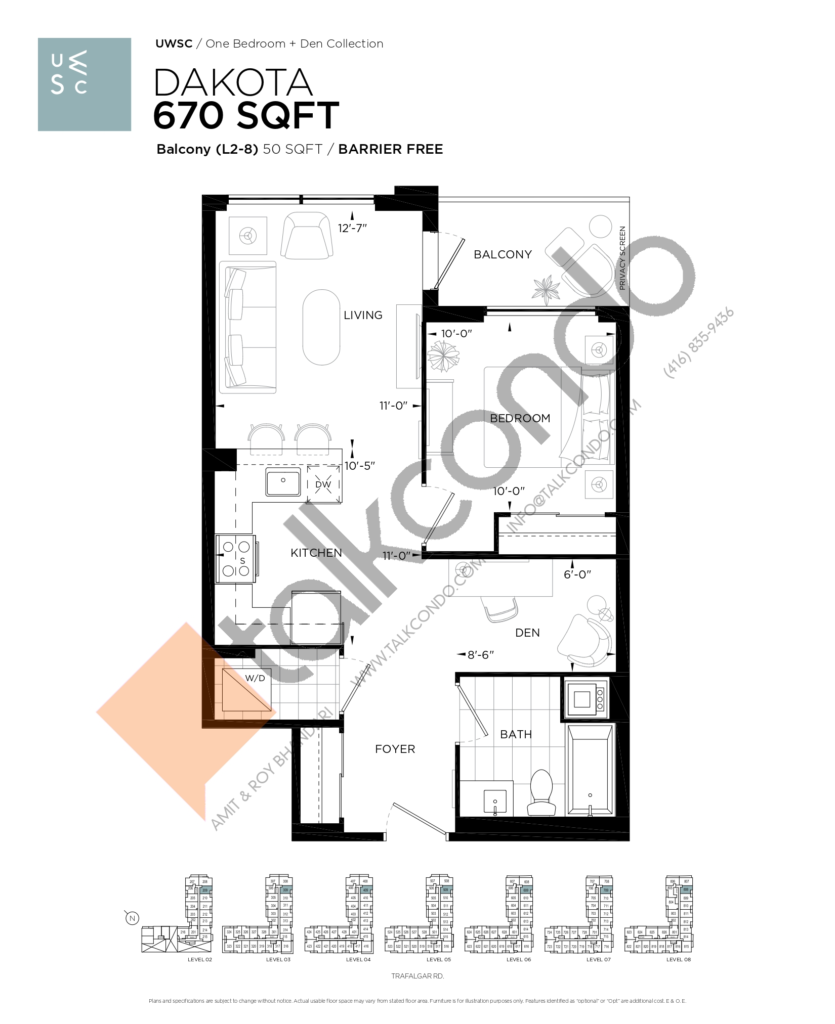 Dakota Floor Plan at Upper West Side Condos at Oakvillage - 670 sq.ft