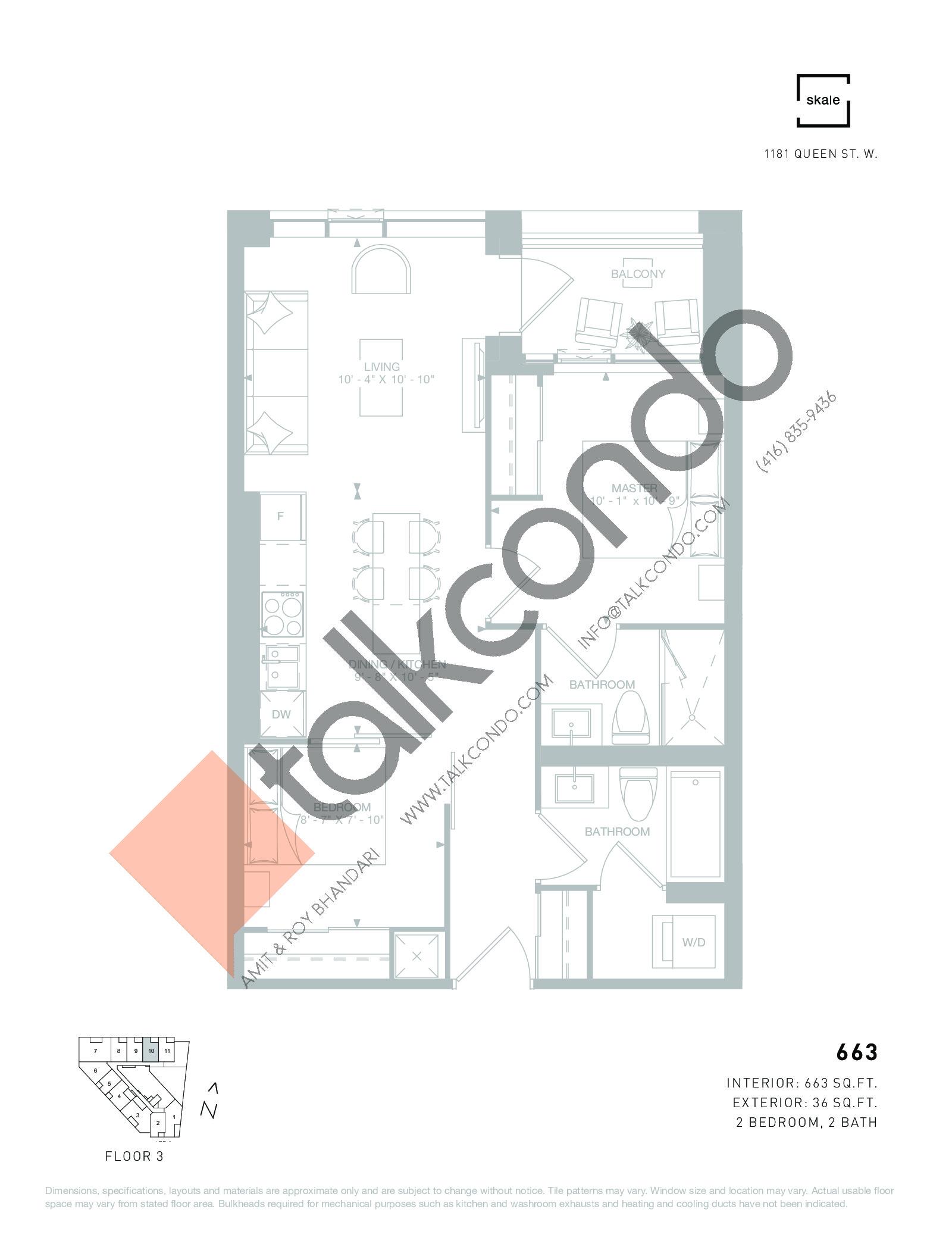 663 Floor Plan at 1181 Queen West Condos - 663 sq.ft