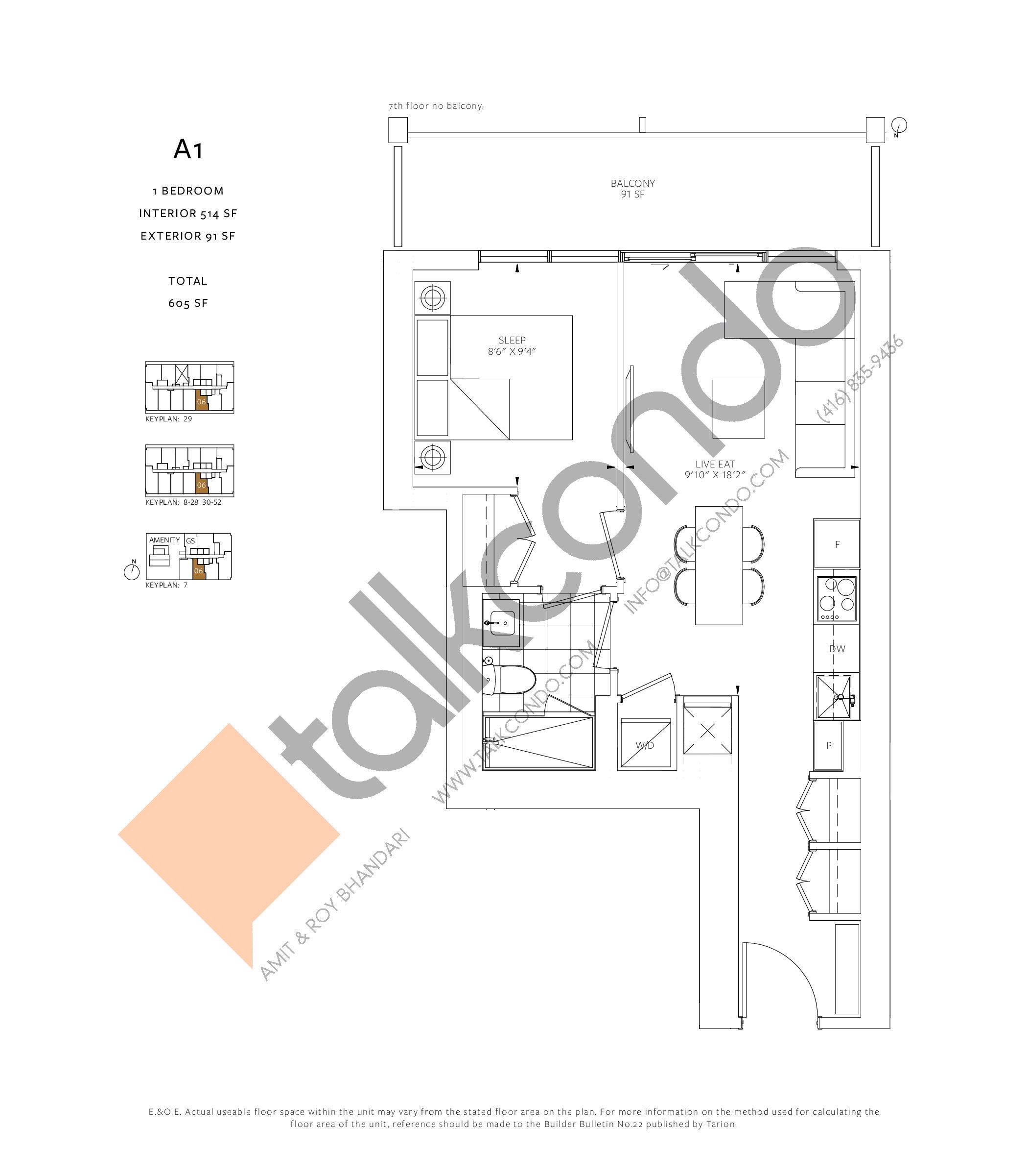 A1 Floor Plan at 88 Queen Condos - 514 sq.ft