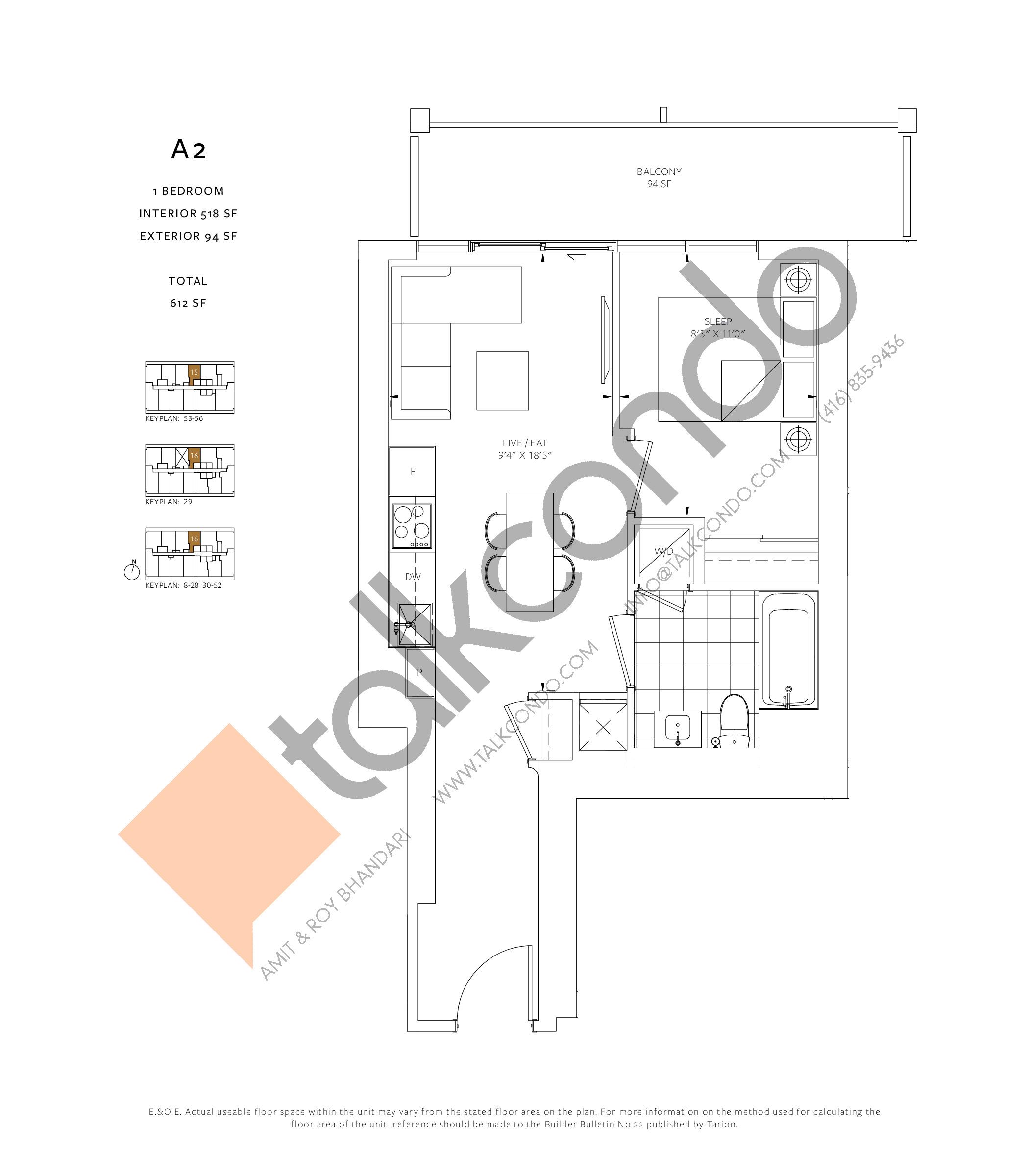 A2 Floor Plan at 88 Queen Condos - 518 sq.ft