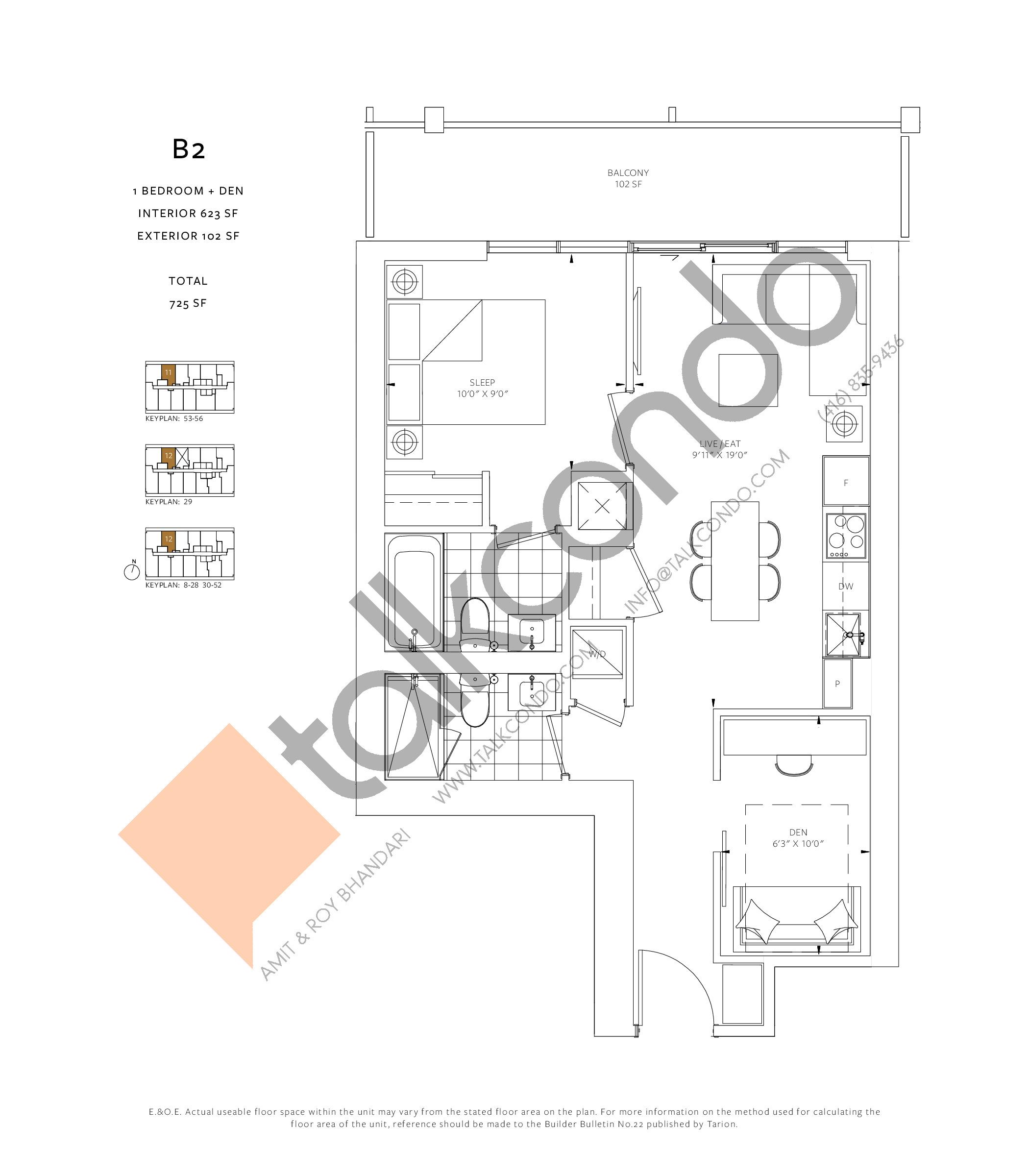 B2 Floor Plan at 88 Queen Condos - 623 sq.ft