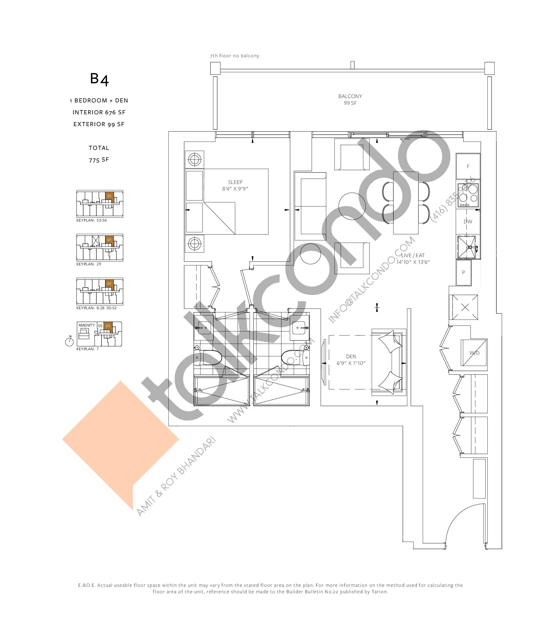 B4 Floor Plan at 88 Queen Condos - 676 sq.ft