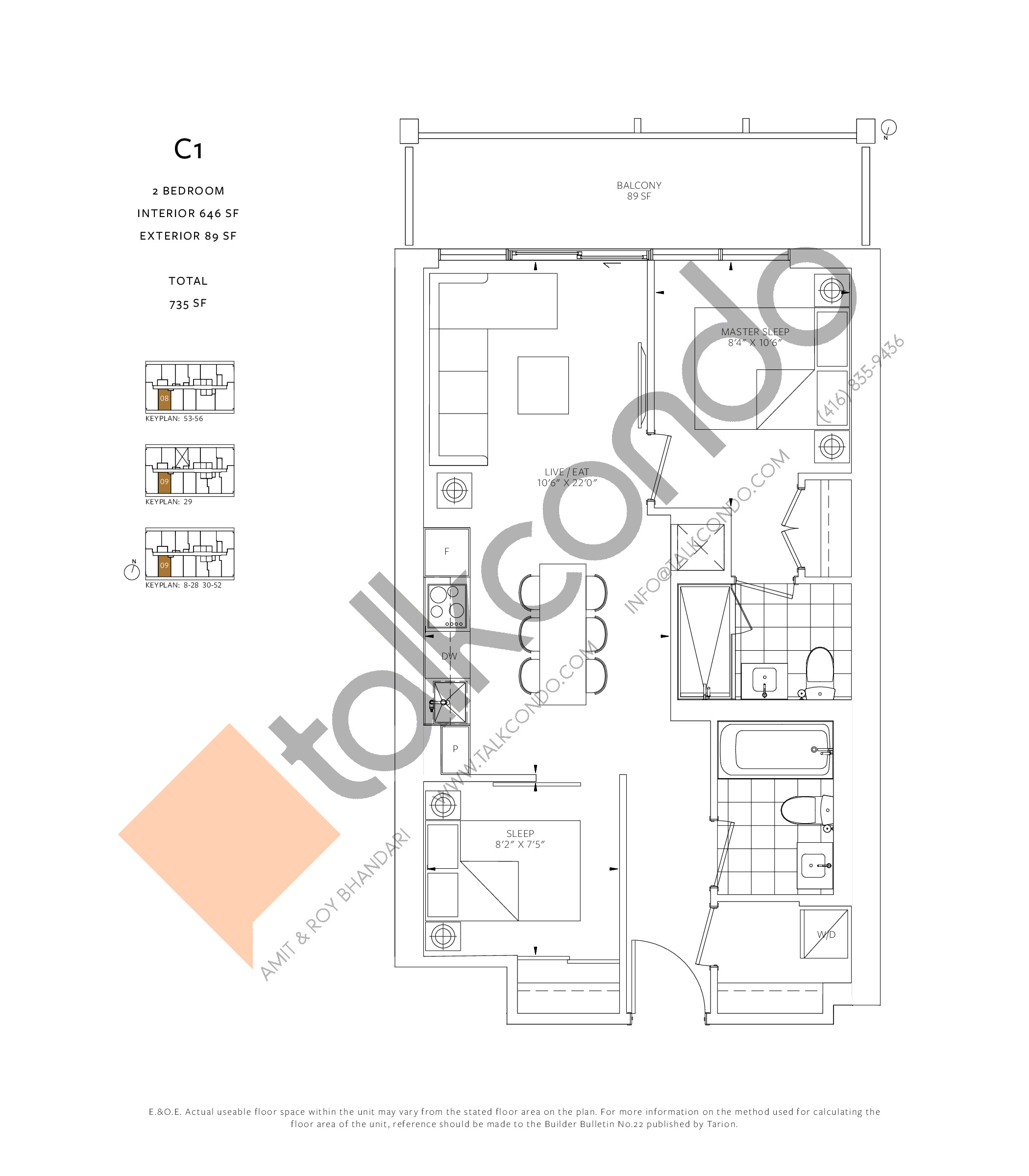 C1 Floor Plan at 88 Queen Condos - 646 sq.ft