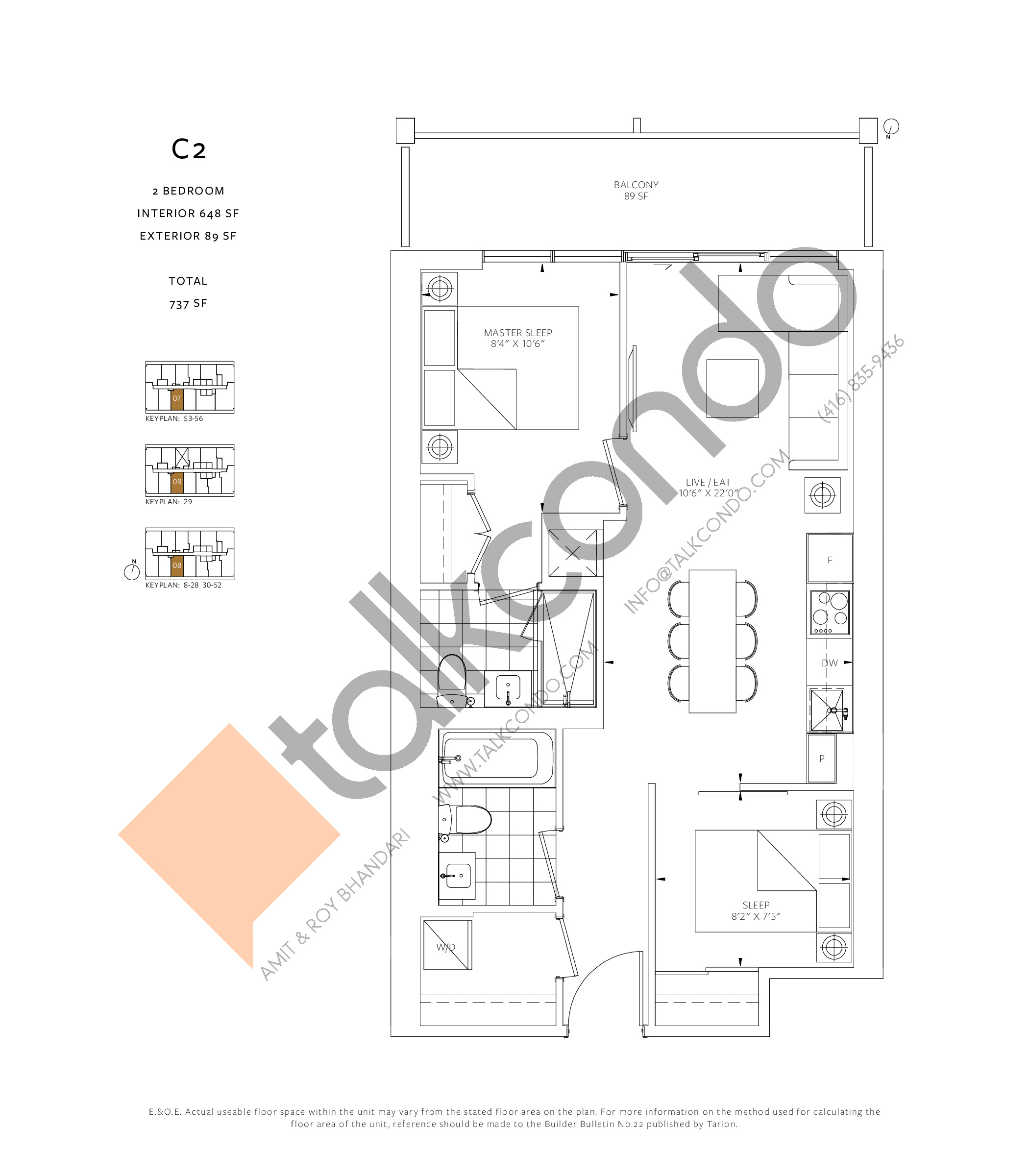 C2 Floor Plan at 88 Queen Condos - 648 sq.ft