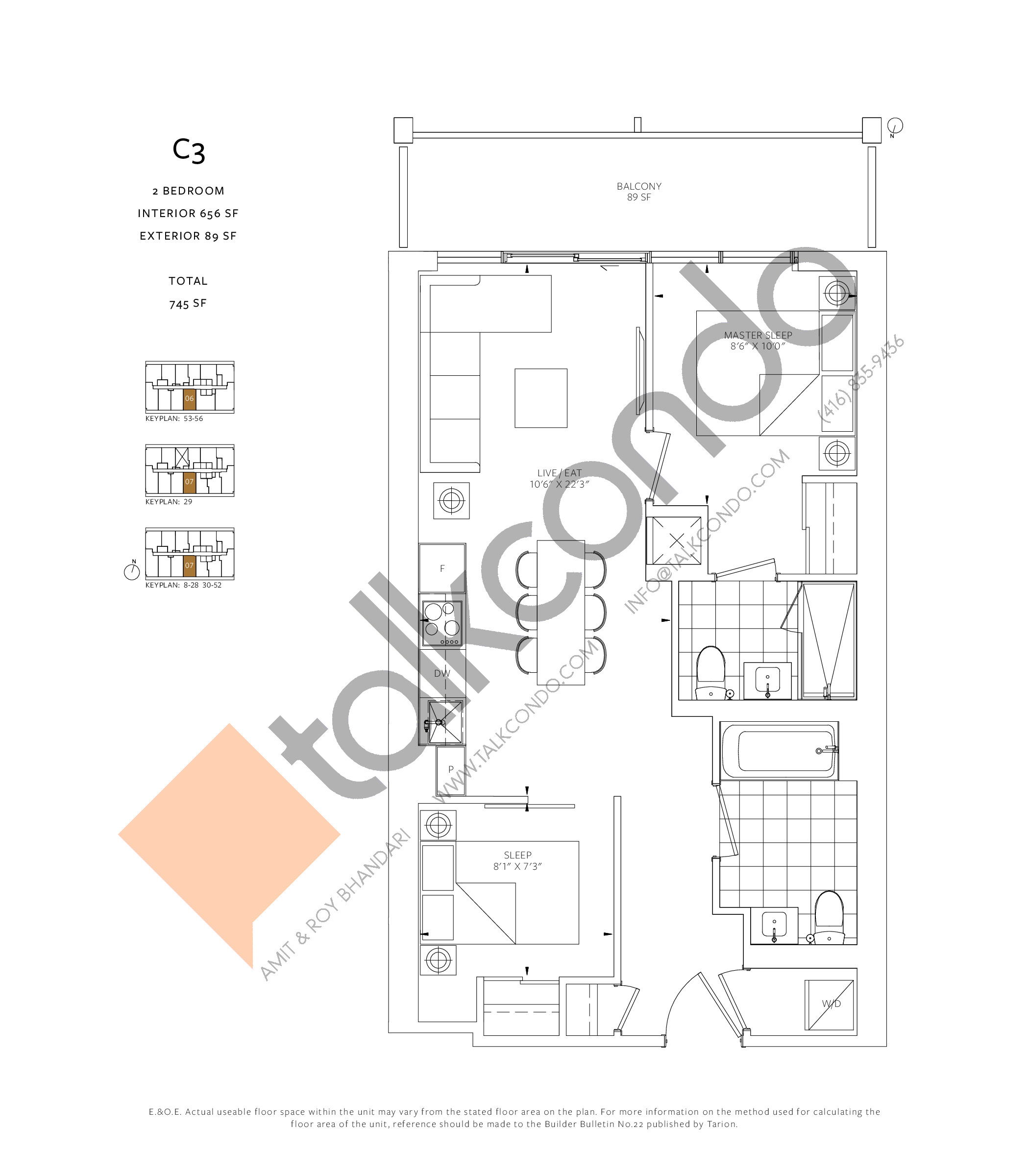 C3 Floor Plan at 88 Queen Condos - 656 sq.ft
