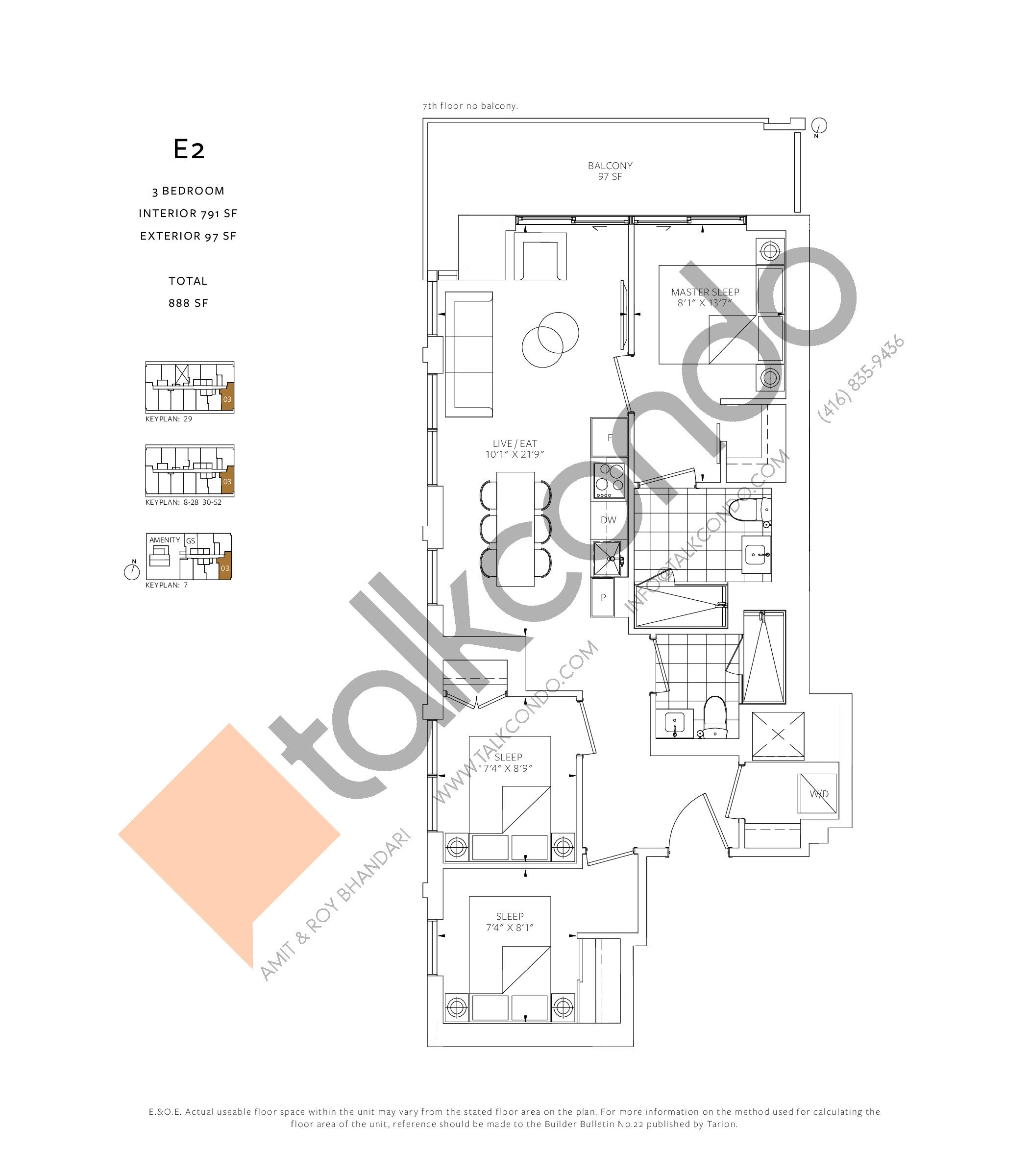 E2 Floor Plan at 88 Queen Condos - 791 sq.ft