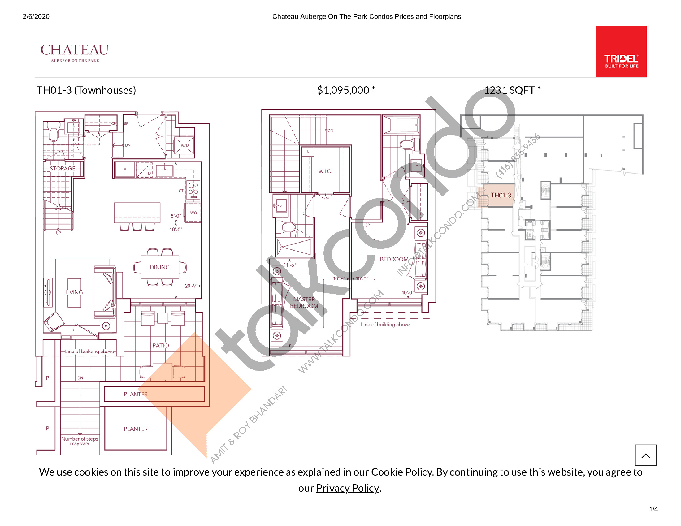 TH01-3 Floor Plan at Chateau Auberge On The Park Condos - 1231 sq.ft