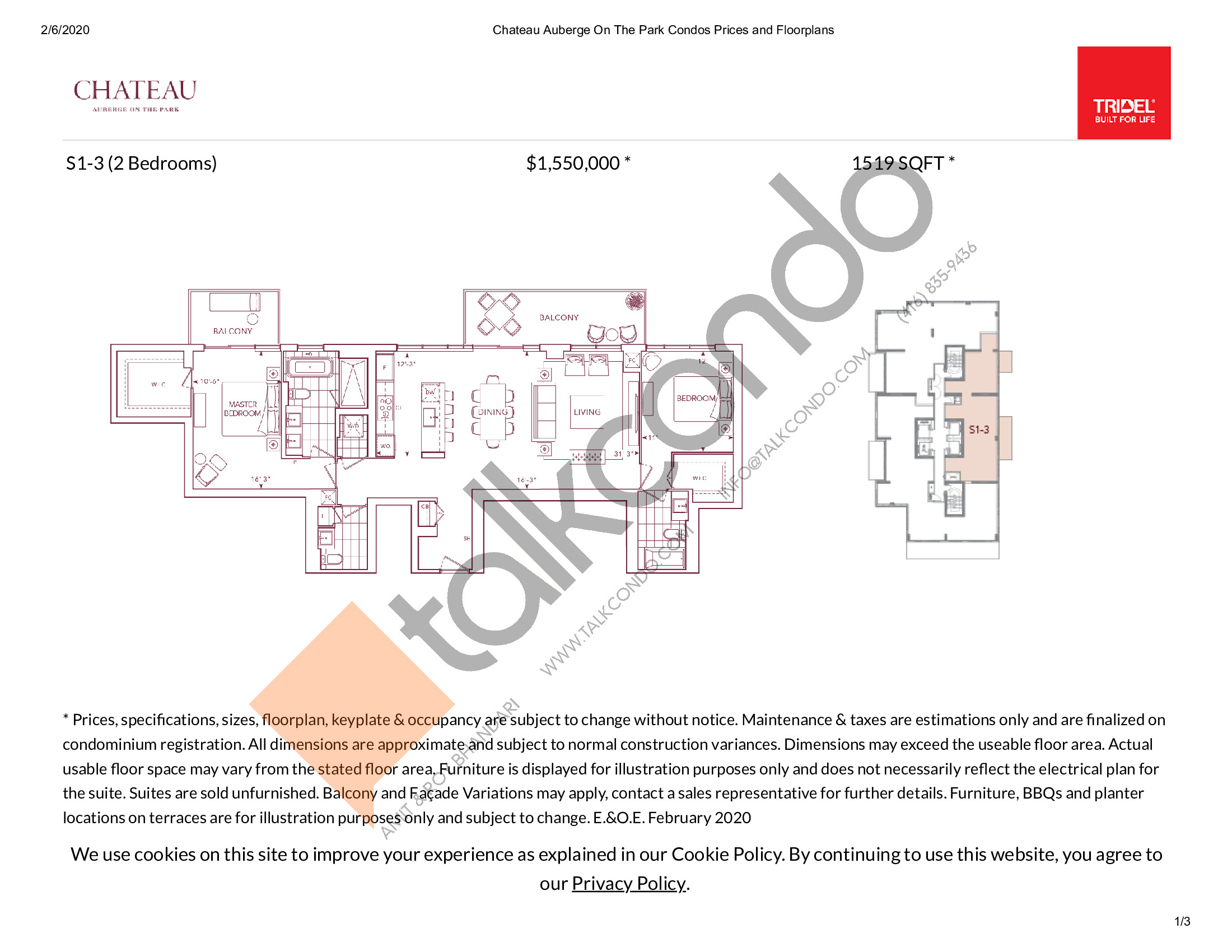 S1-3 Floor Plan at Chateau Auberge On The Park Condos - 1519 sq.ft