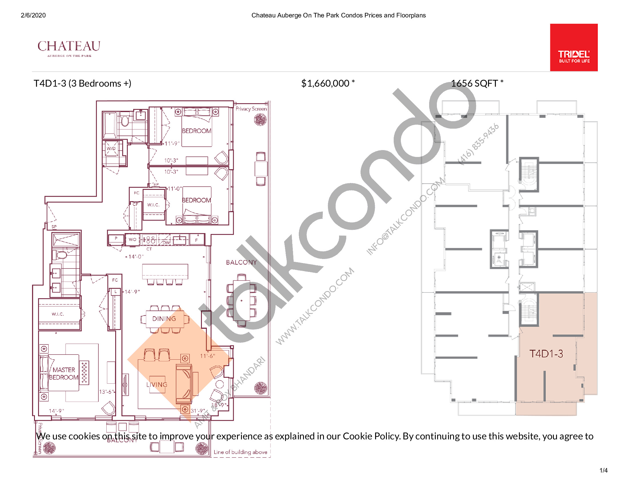 T4D1-3 Floor Plan at Chateau Auberge On The Park Condos - 1656 sq.ft