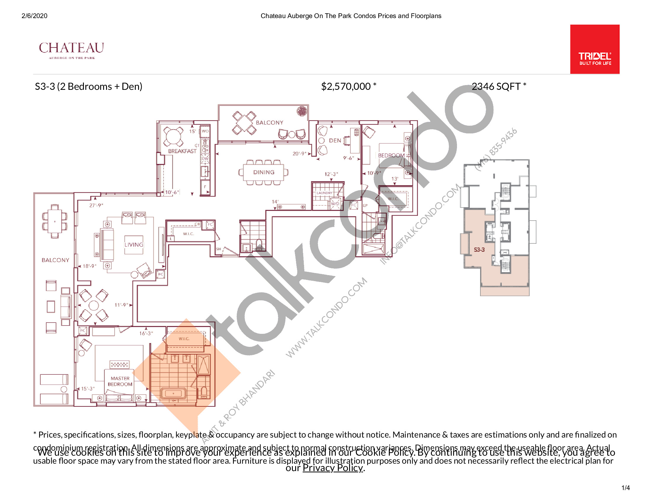 S3-3 Floor Plan at Chateau Auberge On The Park Condos - 2346 sq.ft